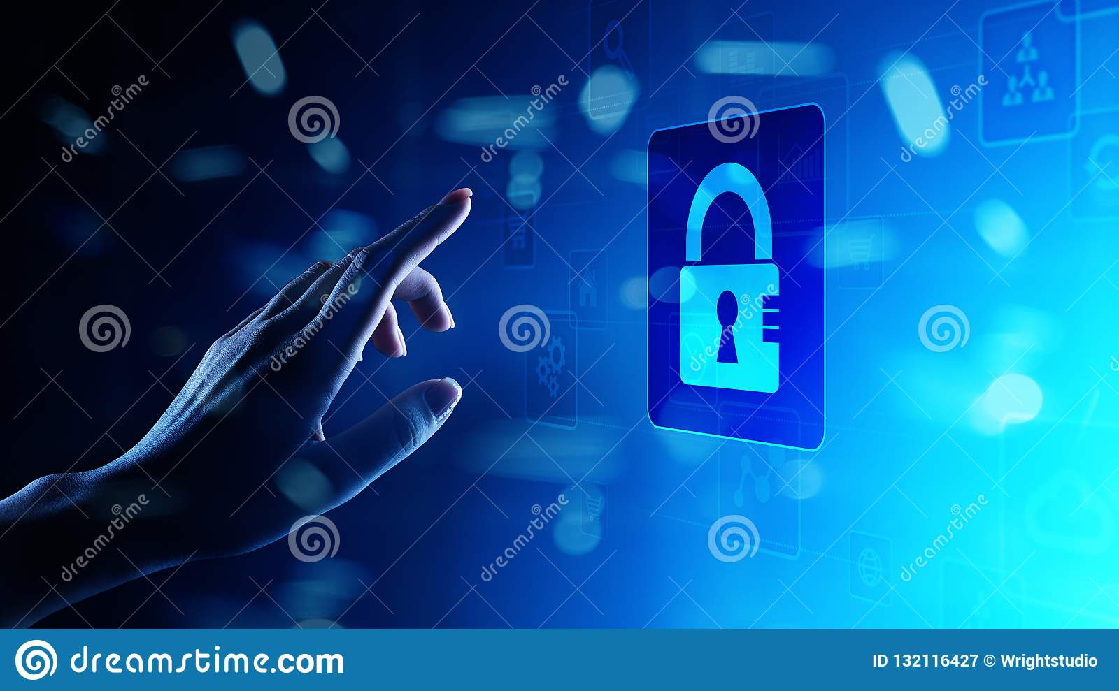 Cyber security, Personal data protection, information privacy. Padlock icon on virtual screen. technology concept.