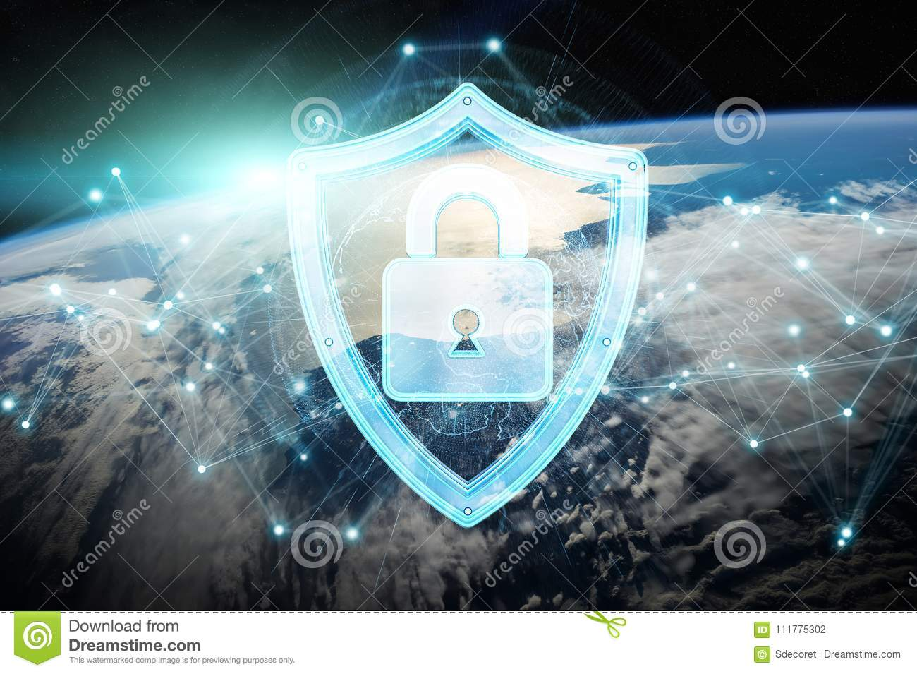 Cyber security on planet Earth 3D rendering