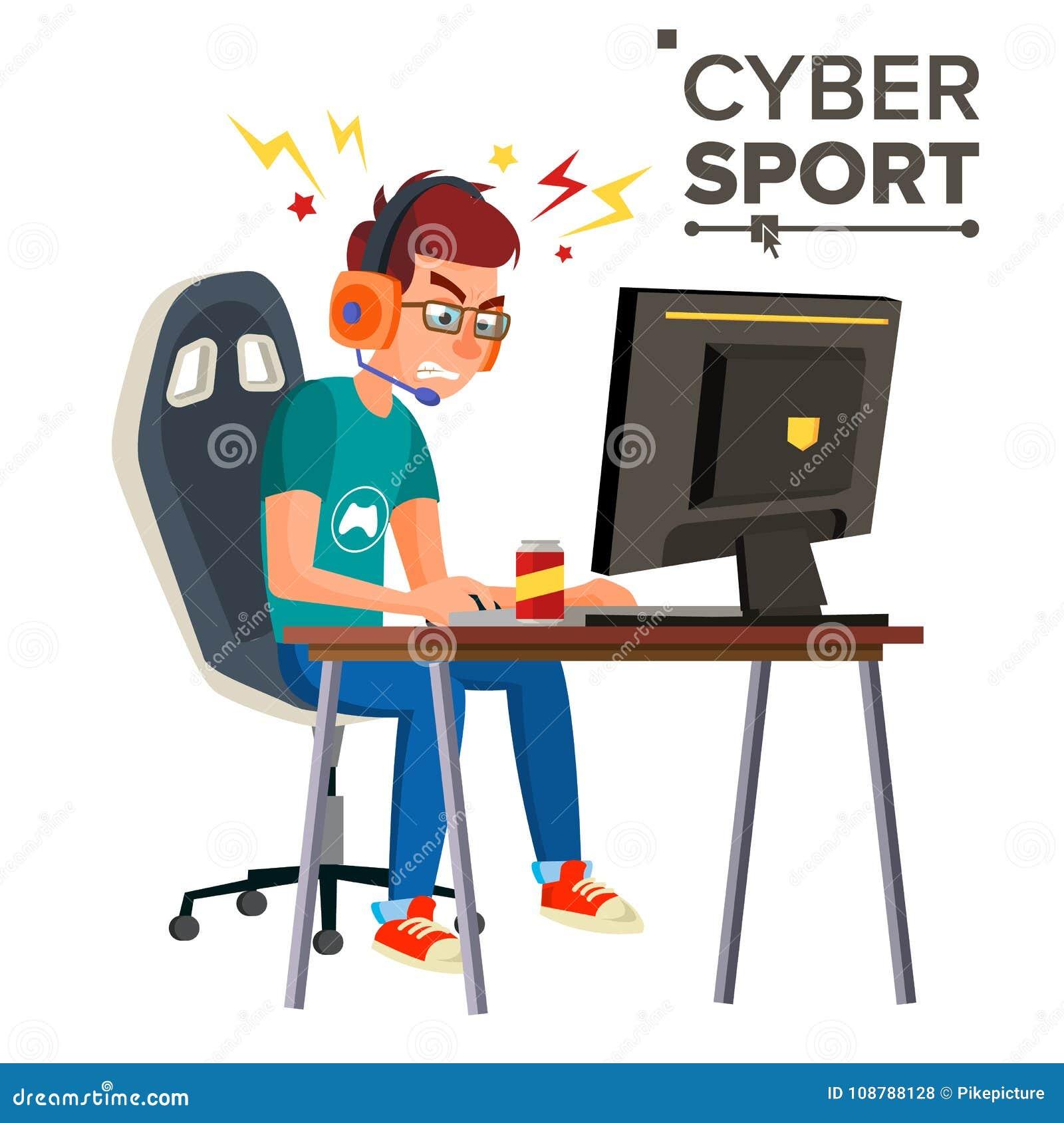 Cyber sporta gracza wektor Fachowy hazardu strumienia sztandar Strategii Wideo gra rywalizacja Cyber gier turniej
