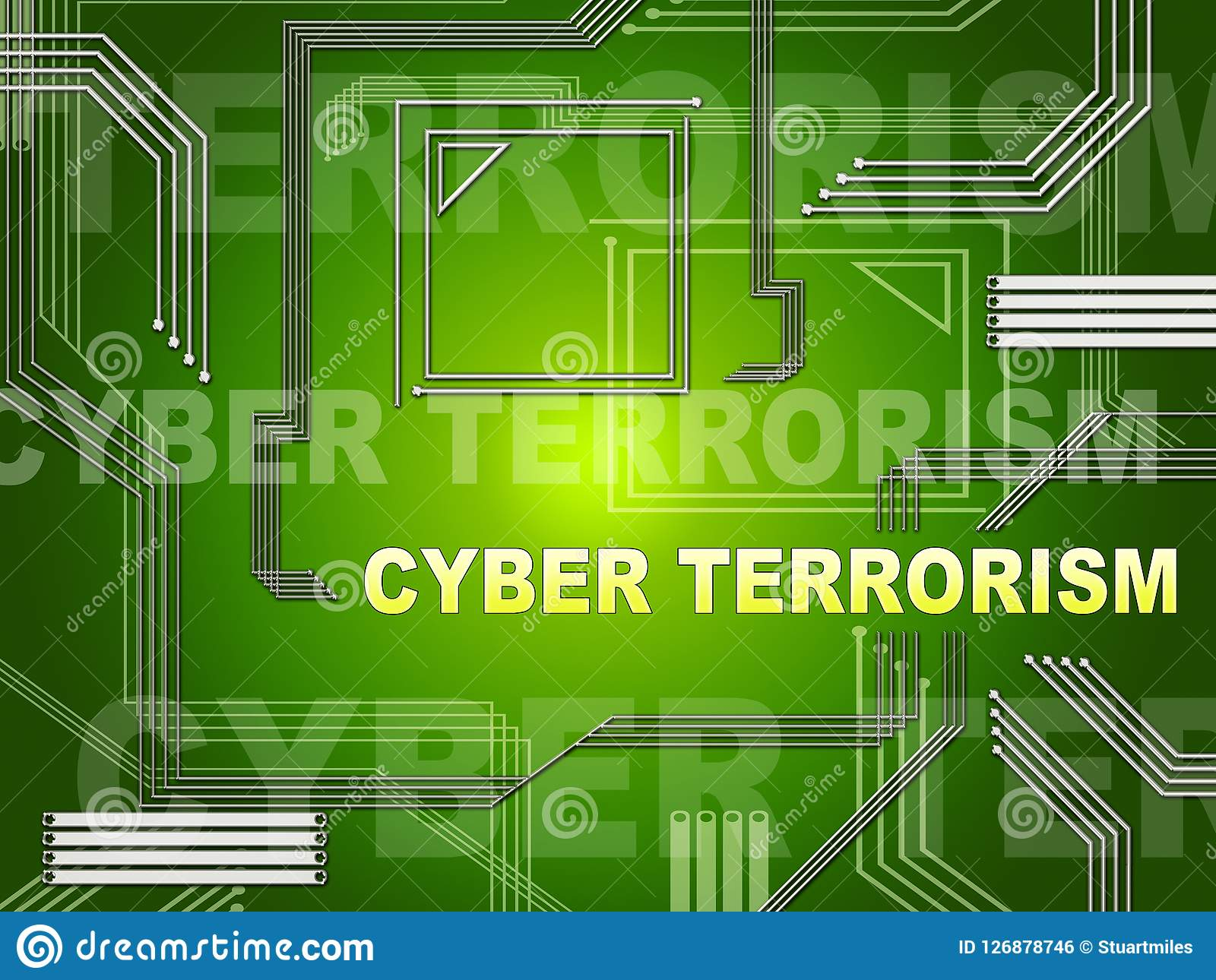 Cyber Terrorism Online Terrorist Crime 2d Illustration Stock