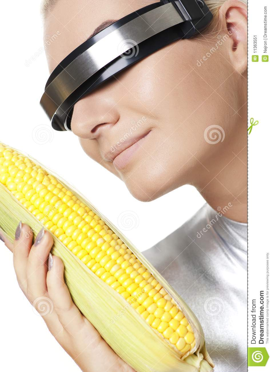 Cyber Woman With A Corn Stock Image - Image: 11363551