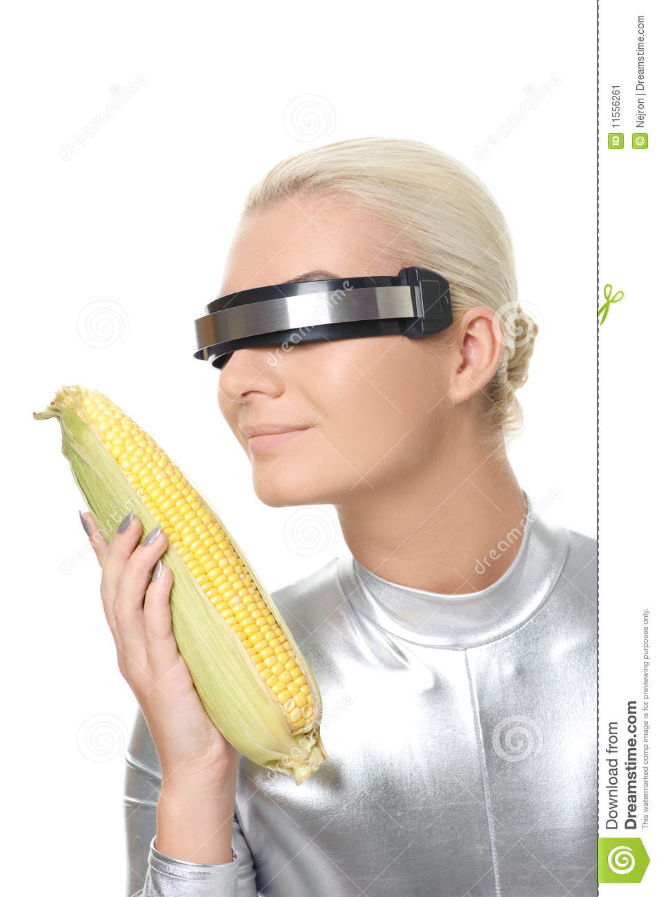 cyber woman with a corn stock image image of modified 11556261