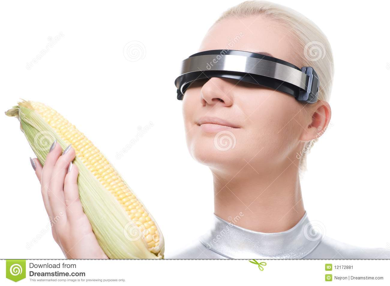 Cyber Woman With A Corn Stock Image - Image: 12172881