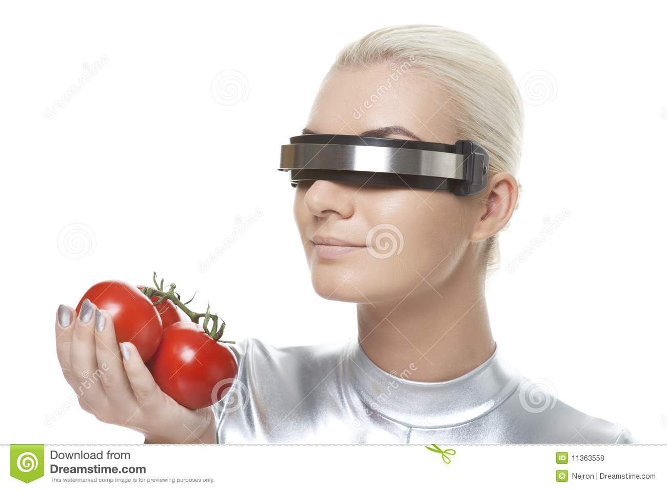 cyber woman with tomatoes stock photo image of costume 11363558