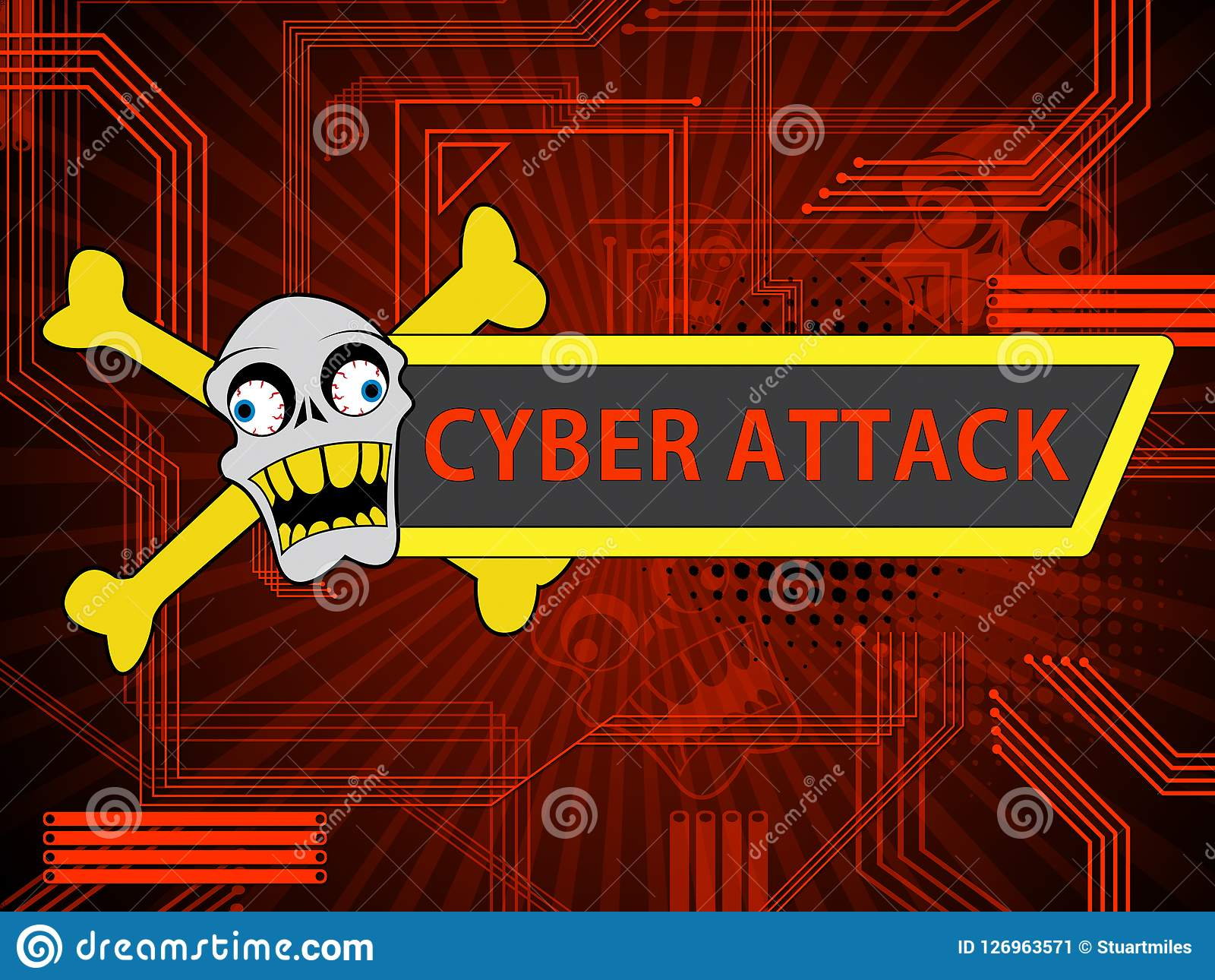 Cyberattack Malicious Cyber Hack Attack 2d Illustration Stock