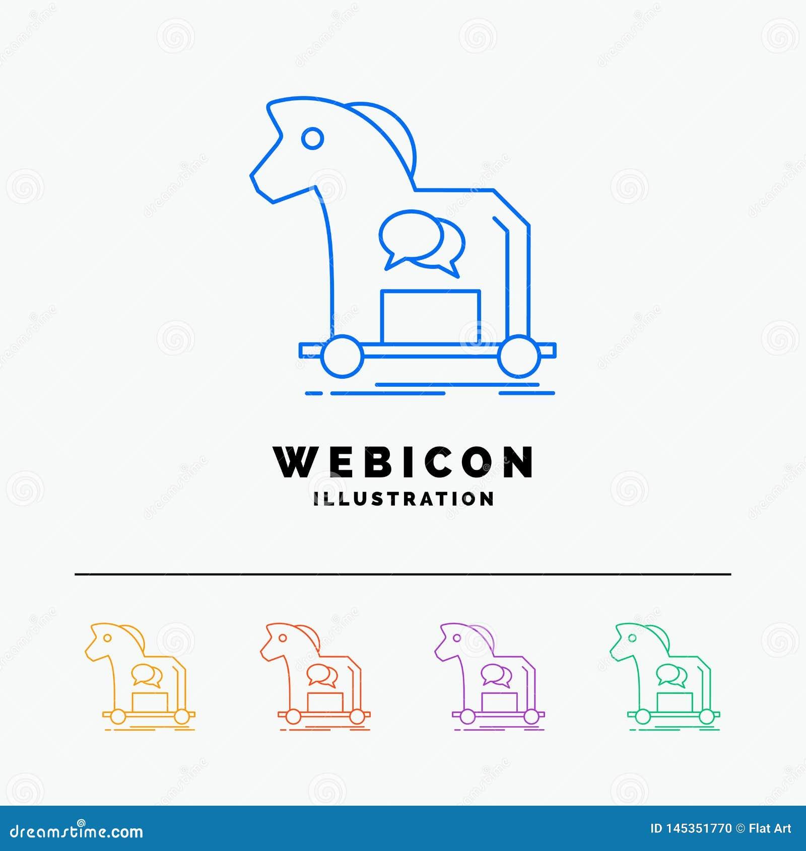 Cybercrime, Horse, Internet, Trojan, Virus 5 Color Line ...