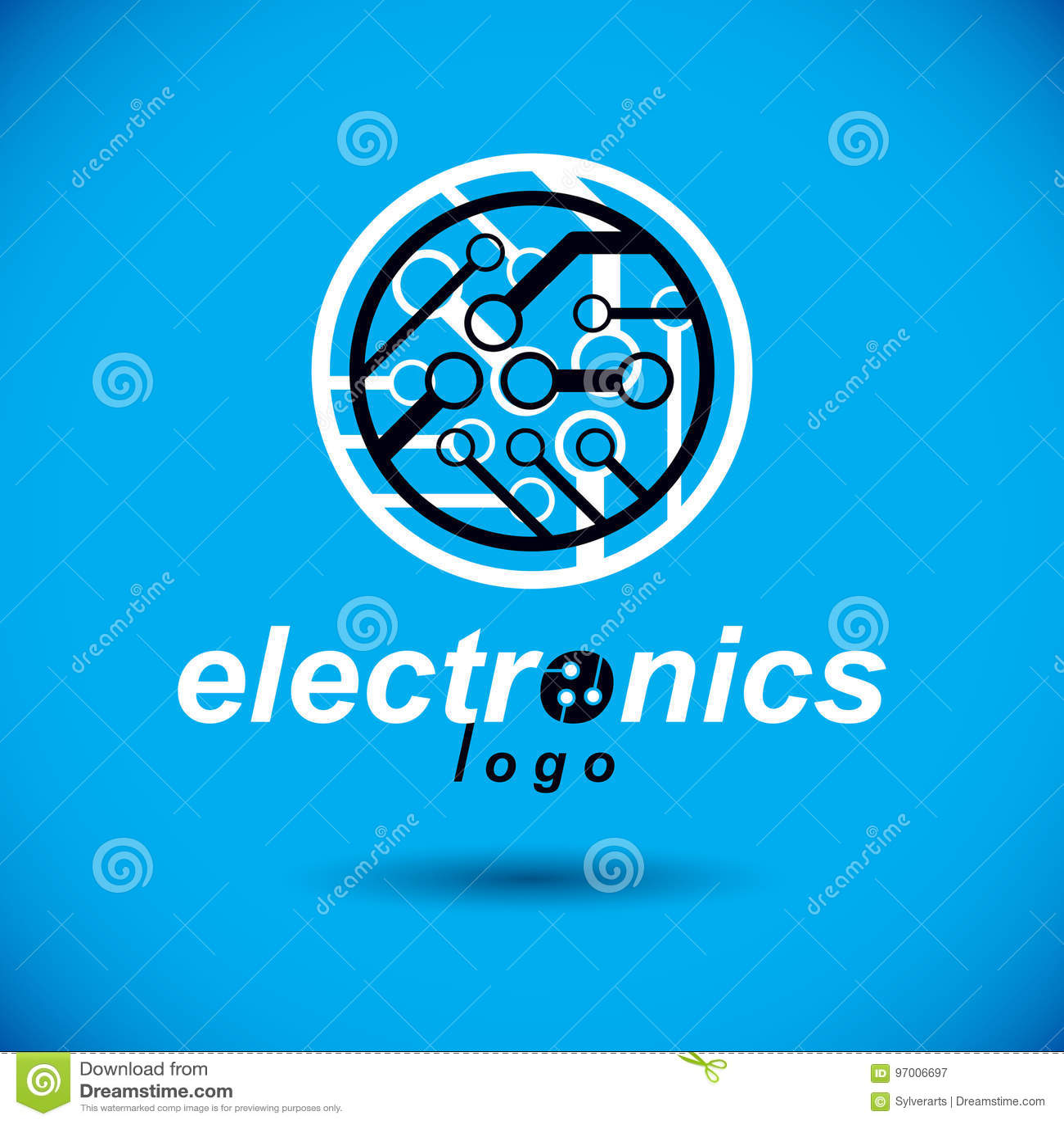 cybernetic element vector abstract circular circuit board illus