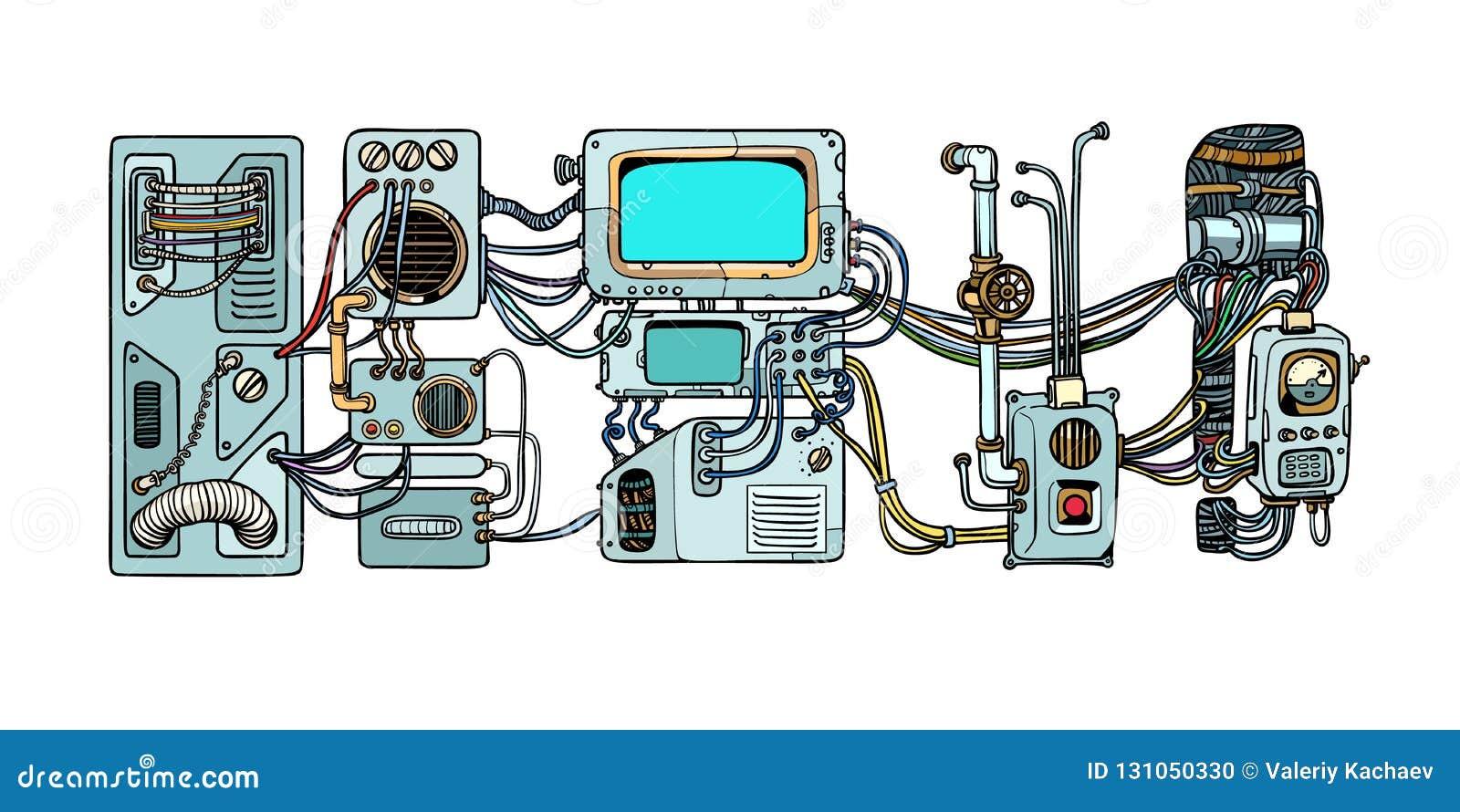 Cyberpunkrobotermechanismen und -maschinen Details des spacecr