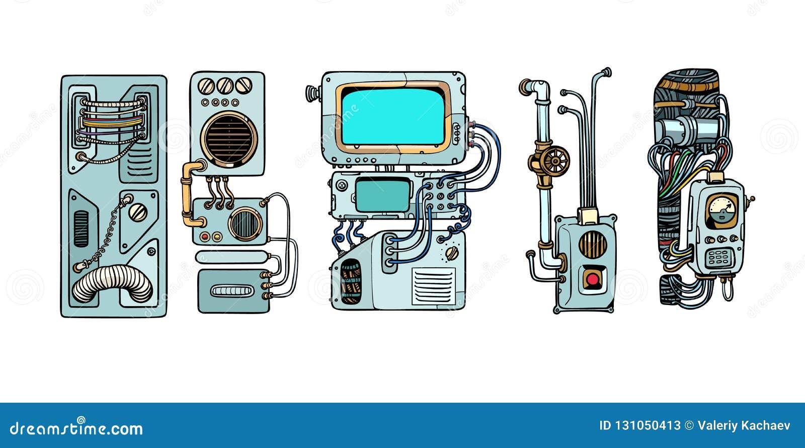 Cyberpunkrobotmekanism och maskiner Detaljer av spacecren