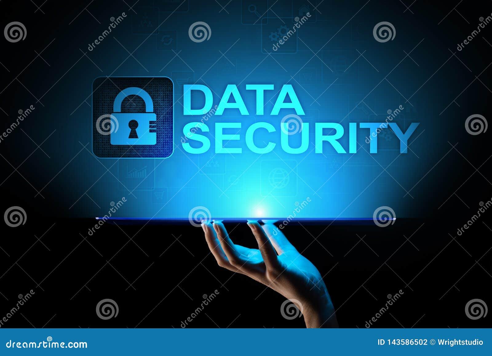Cybersäkerhet, informationsavskildhet, dataskydd Internet- och teknologibegrepp på den faktiska skärmen