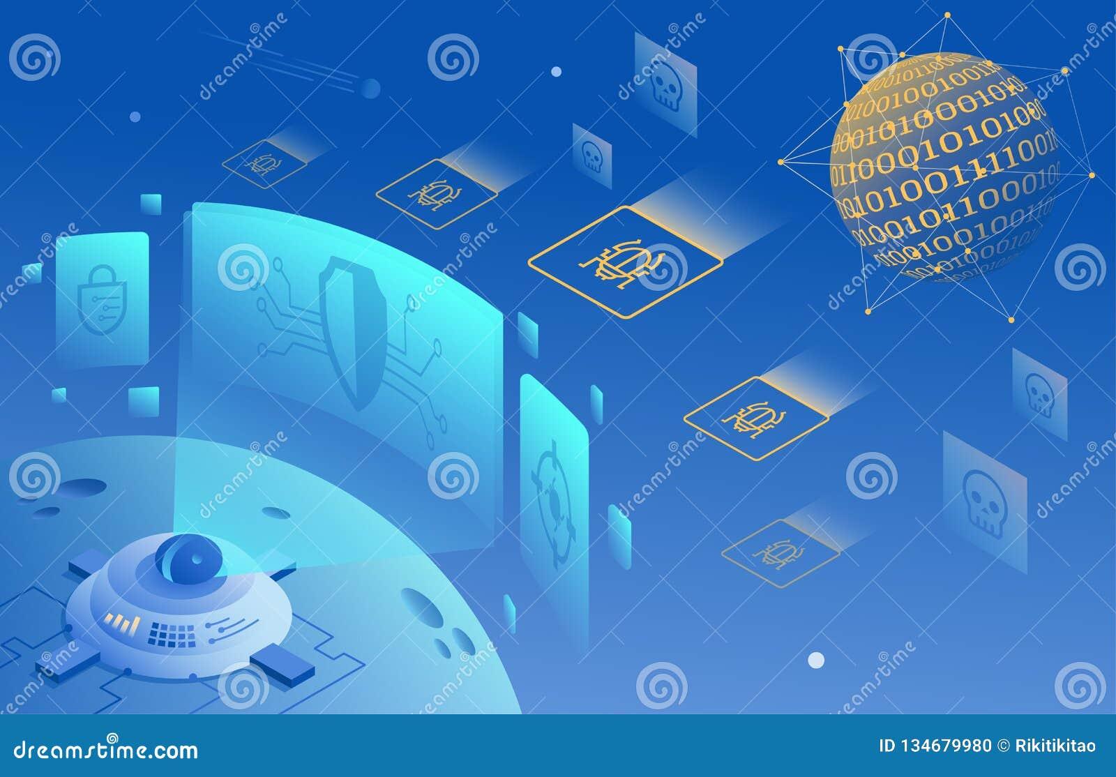 Cybersäkerhet och informations- eller nätverksskyddsillustration