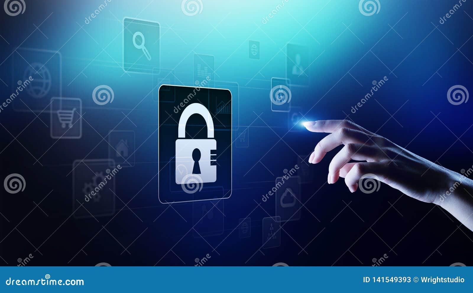Cybersäkerhet, personligt dataskydd, informationsavskildhet Hänglåssymbol på den faktiska skärmen begrepp isolerad teknologiwhite