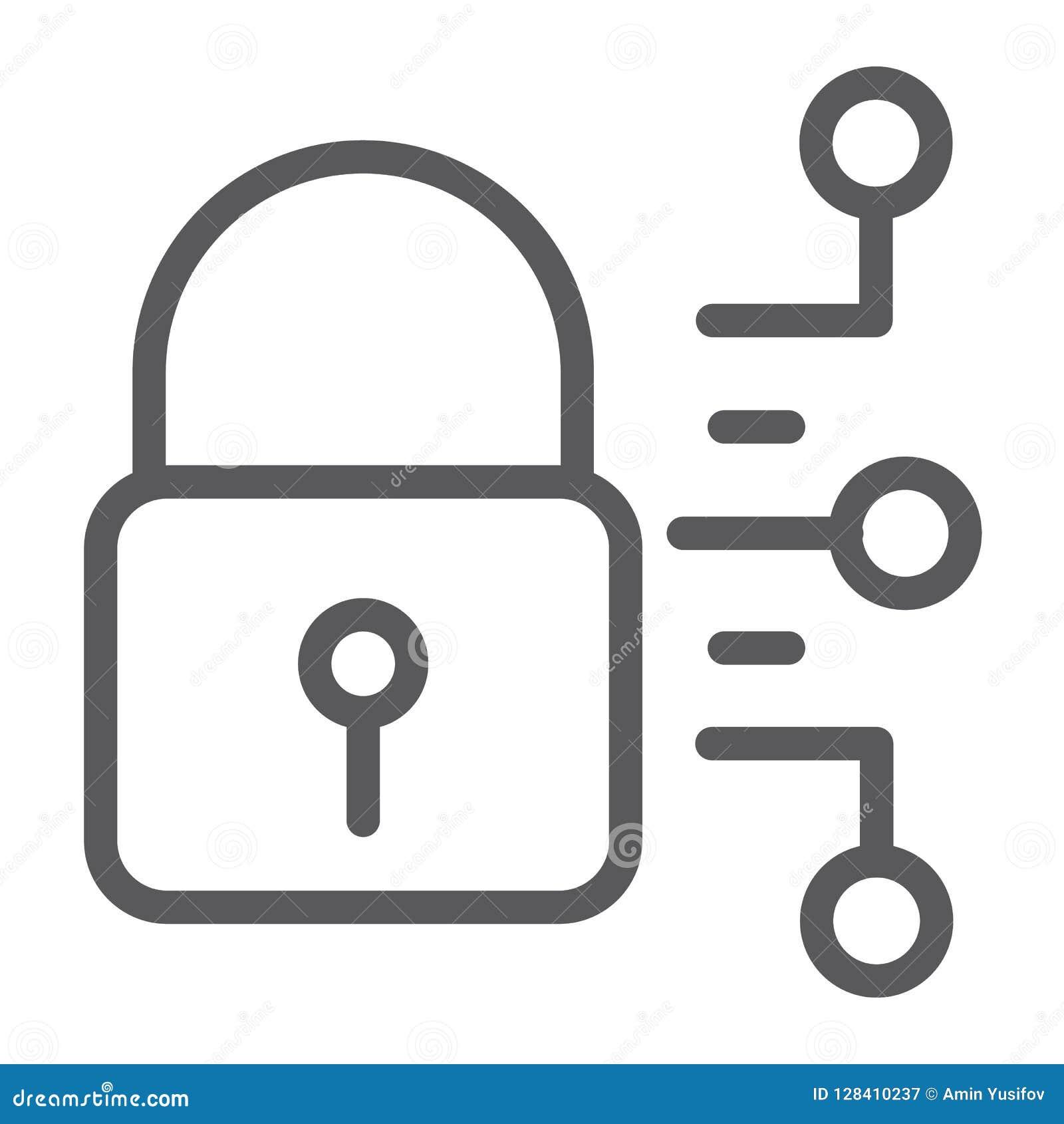 Cybersäkerhetslinje symbol, skydd och säkerhet, digitalt hänglåstecken, vektordiagram, en linjär modell