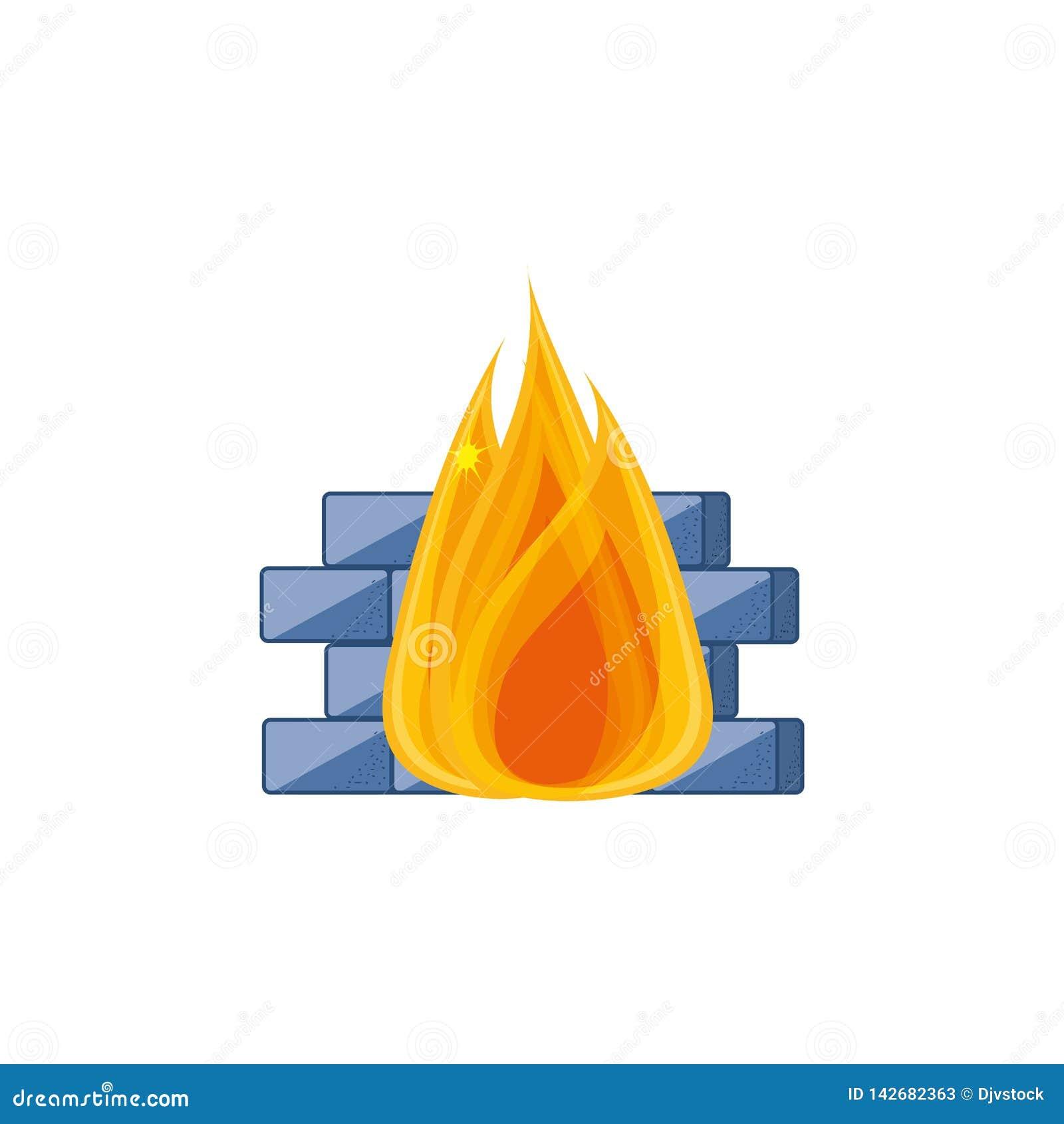 Cybersäkerhetsvägg med brand