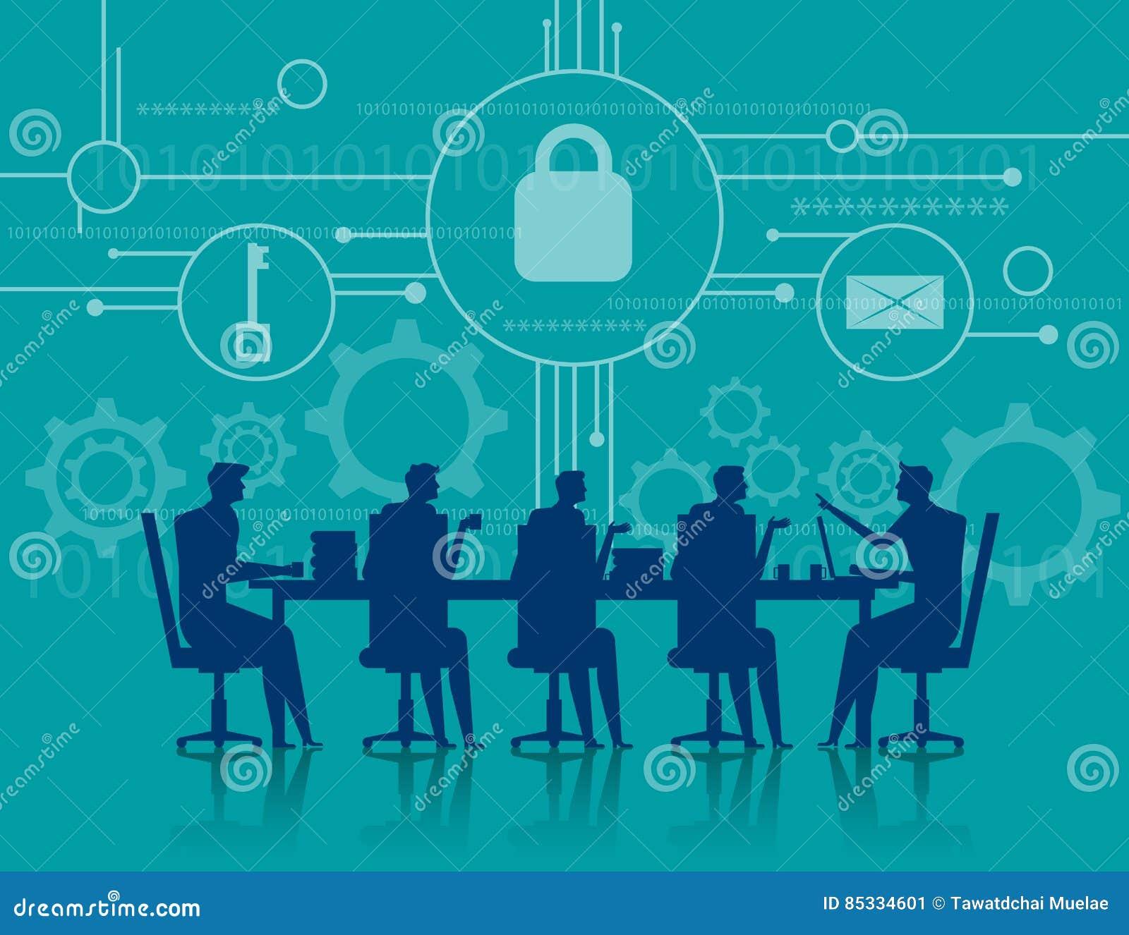 CyberSecurity 业务会议安全 概念企业illus