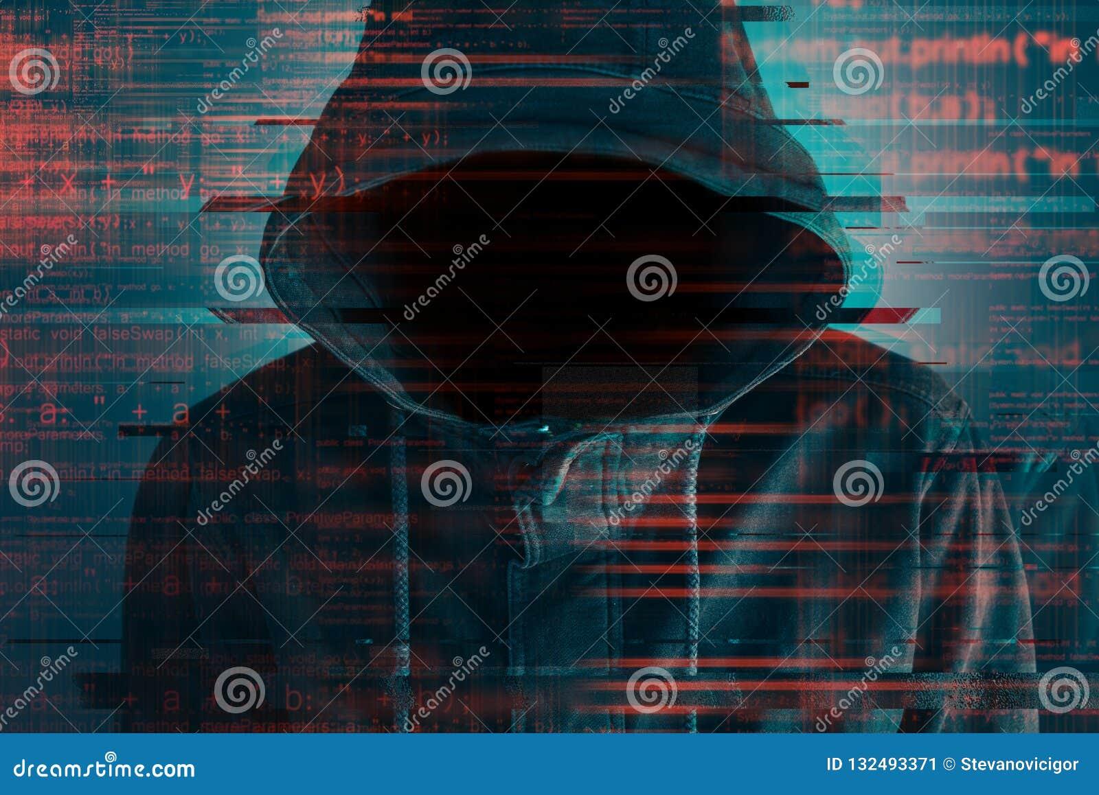 Cybersecurity, hacker de computador com hoodie