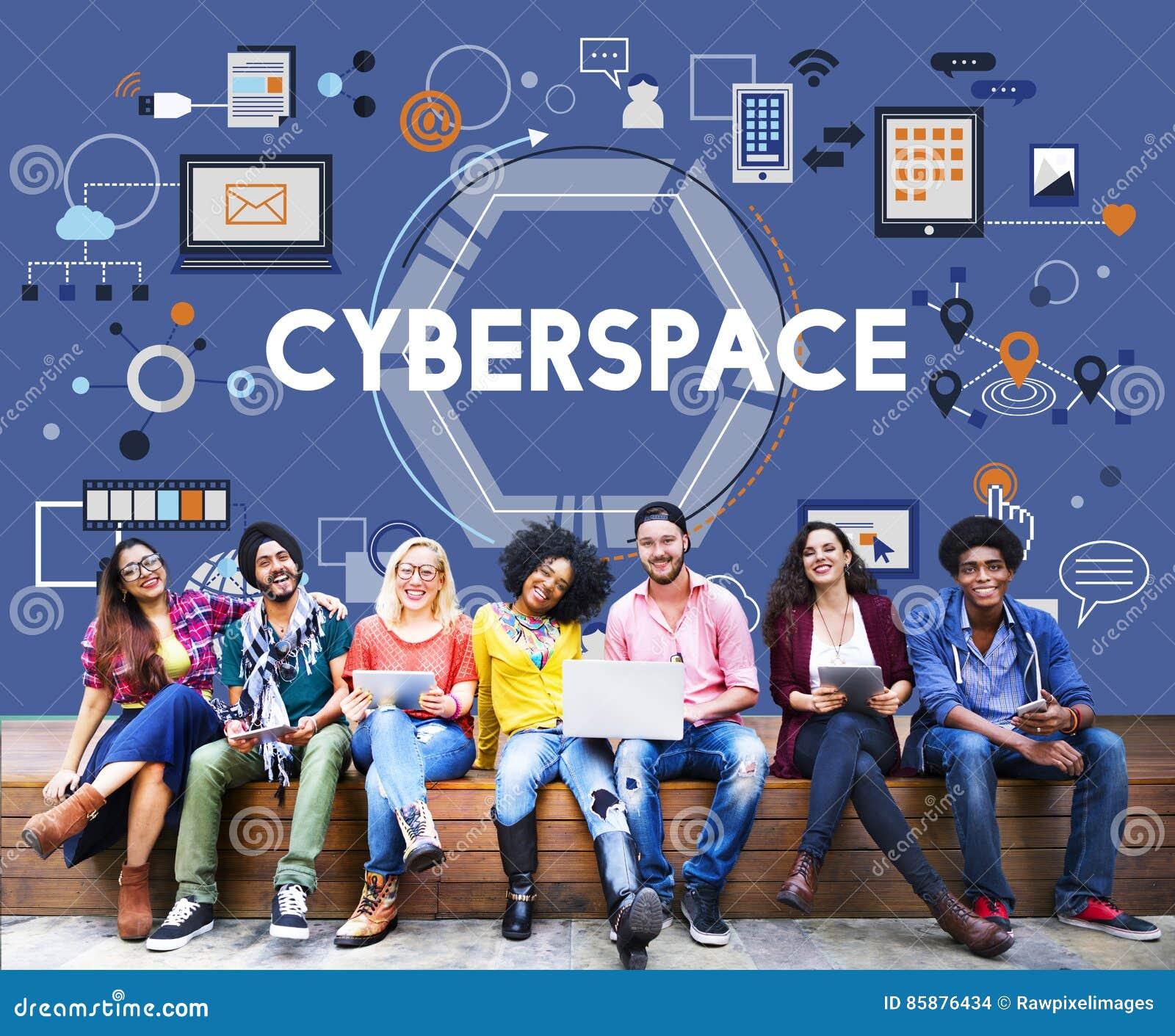 Cyberspace het Voorzien van een netwerktechnologie Concep van de Globaliseringsverbinding