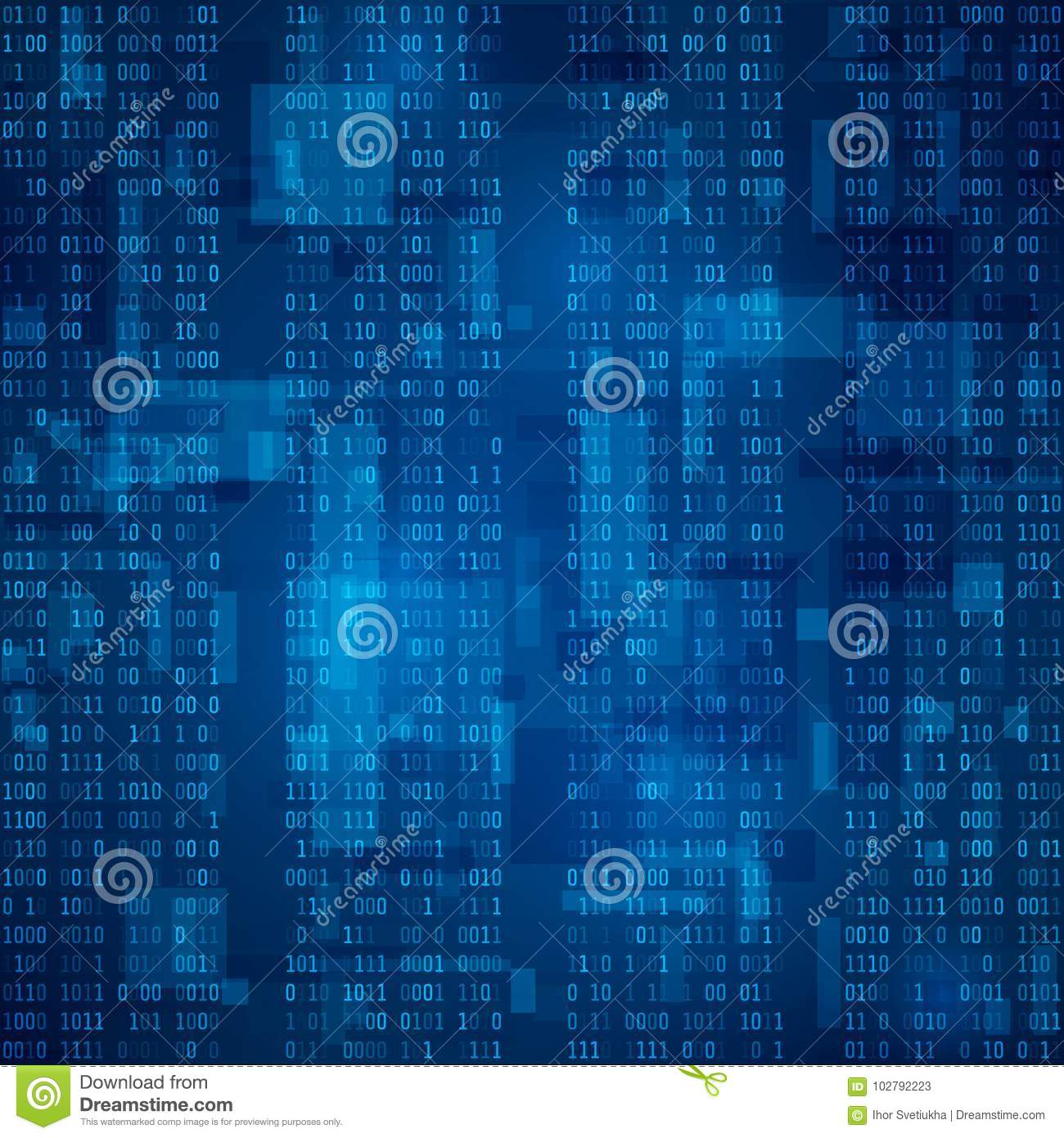 Stream Of Blue Binary Code Futuristic Background Visualization And Processing Of Data In Binary Format Vector Il Ration