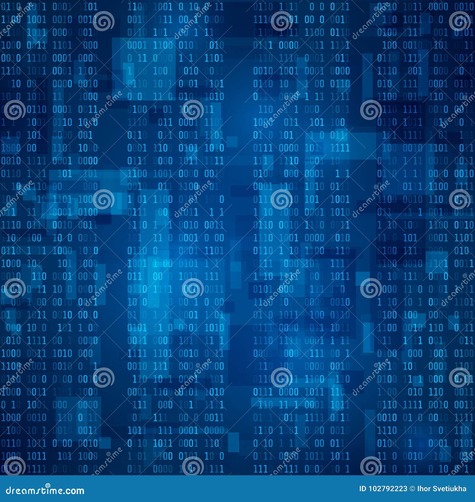 Cyberspace Stroom van blauwe binaire code Futuristische Achtergrond Visualisatie en verwerking van gegevens in binair formaat Vec