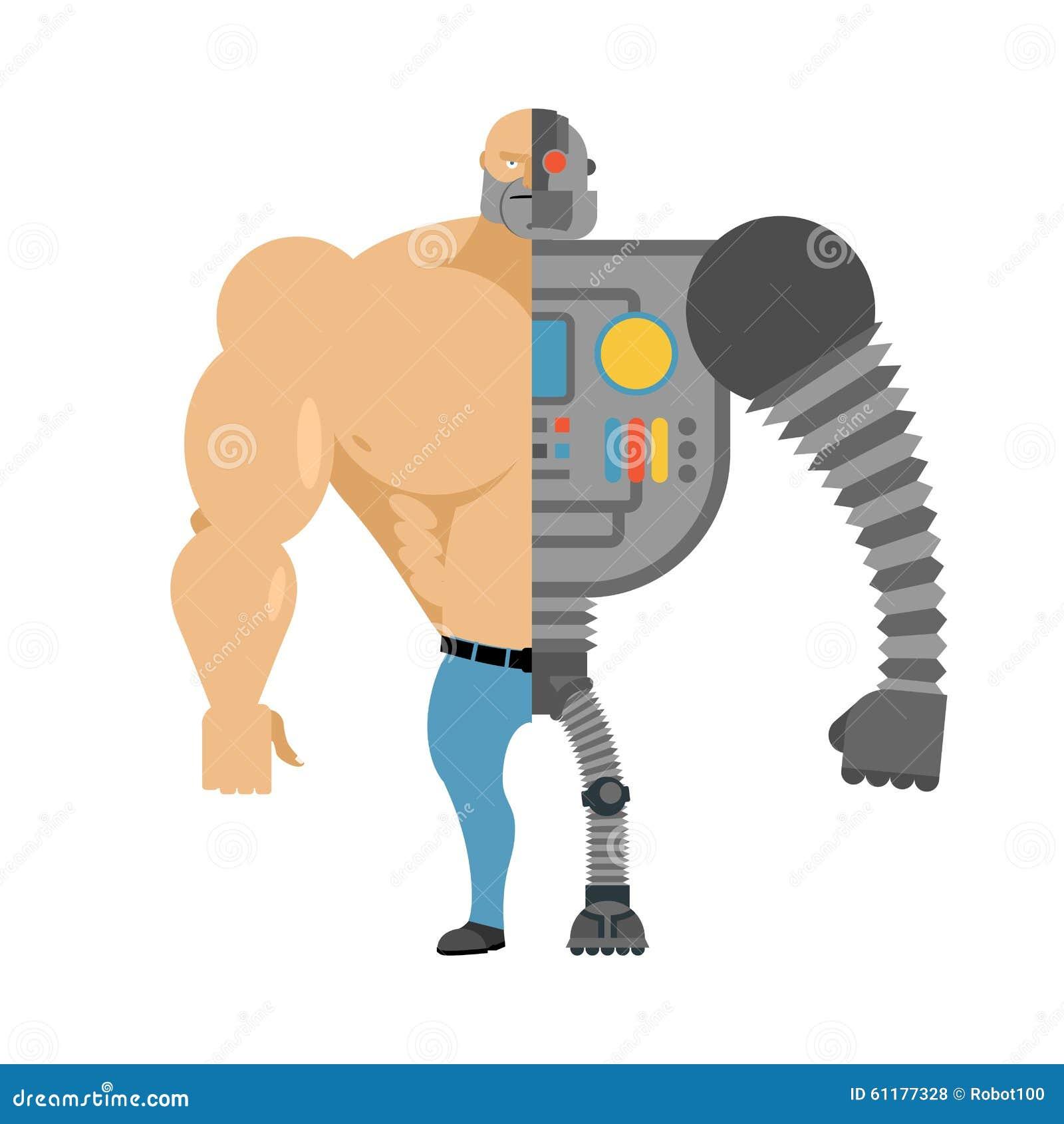 Cyborg Κατά το ήμισυ ανθρώπινο μισό ρομπότ Άτομο με τους μεγάλους μυς και το σίδηρο lim
