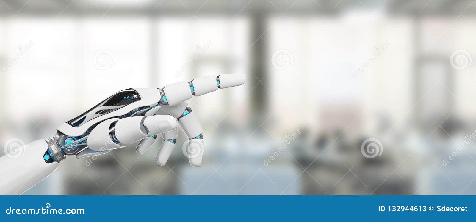 Cyborg blanco que señala su representación del finger 3D