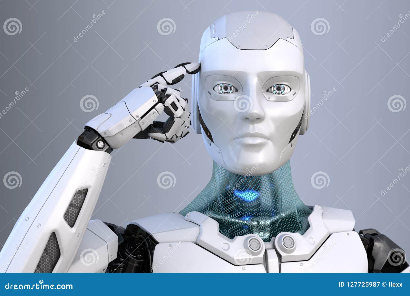 Cyborg de pensamiento El robot sostiene un finger cerca de la cabeza
