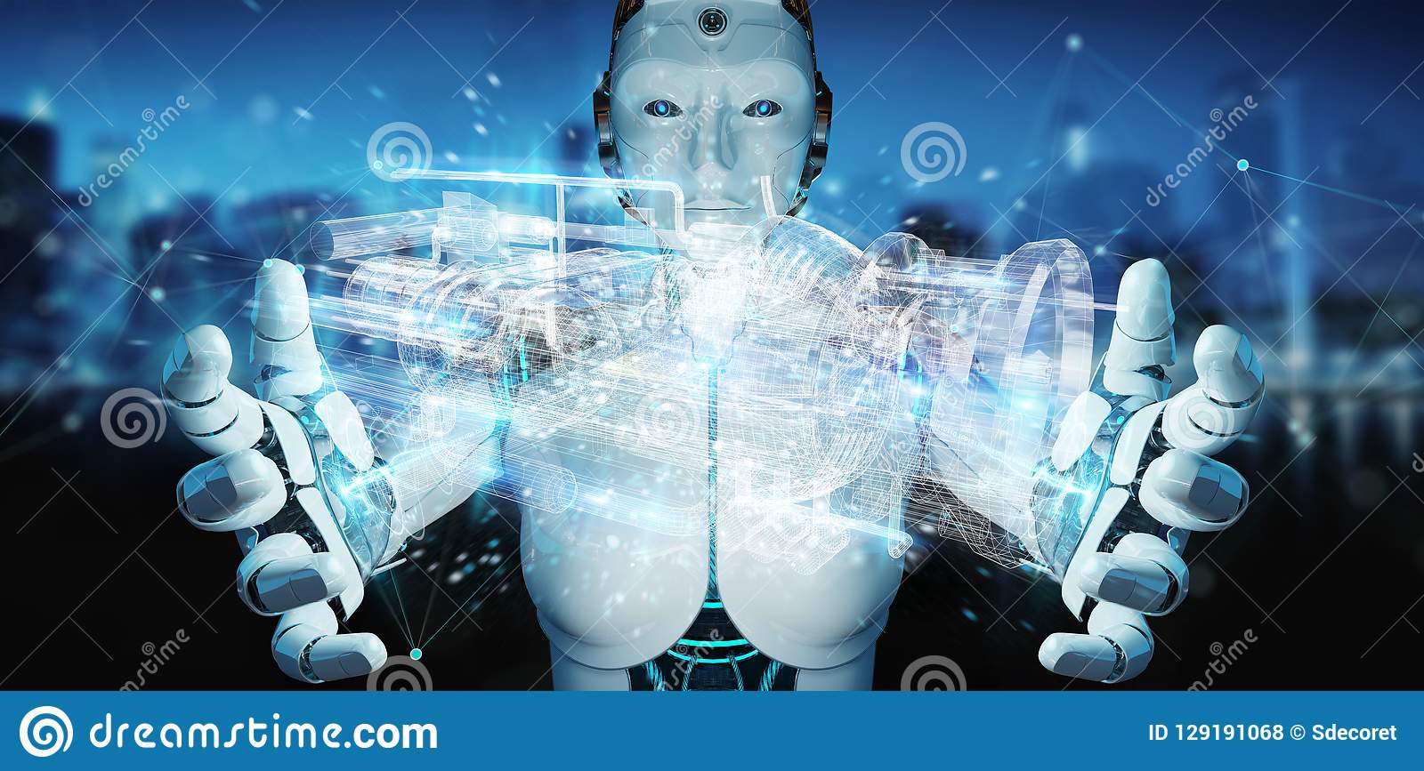 Cyborg, der wireframe ganz eigenhändig geschriebe digitale Projektion 3D eines e verwendet