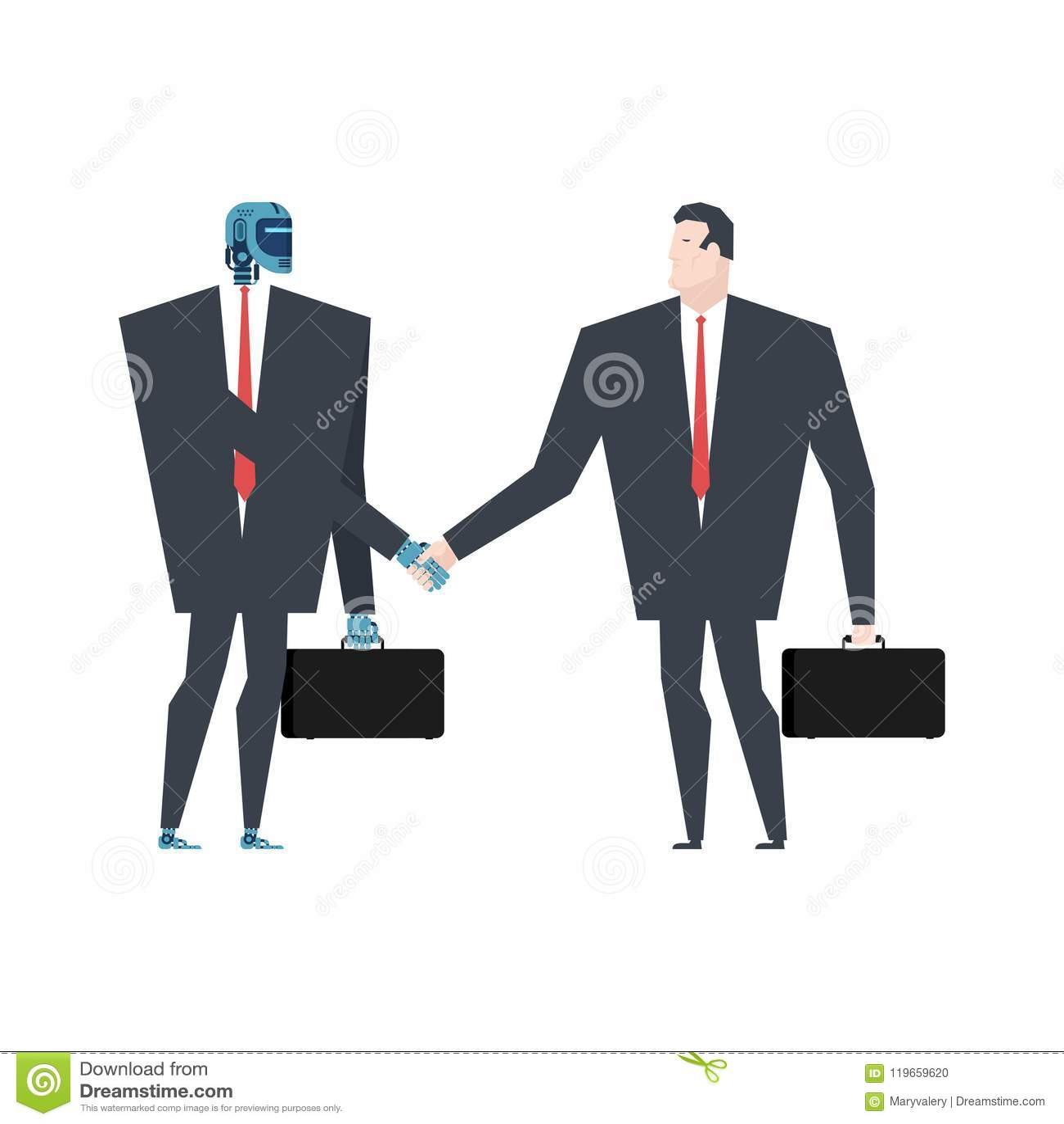 Cyborg en mensenhanddruk Robot en zakenmancontract Artifi