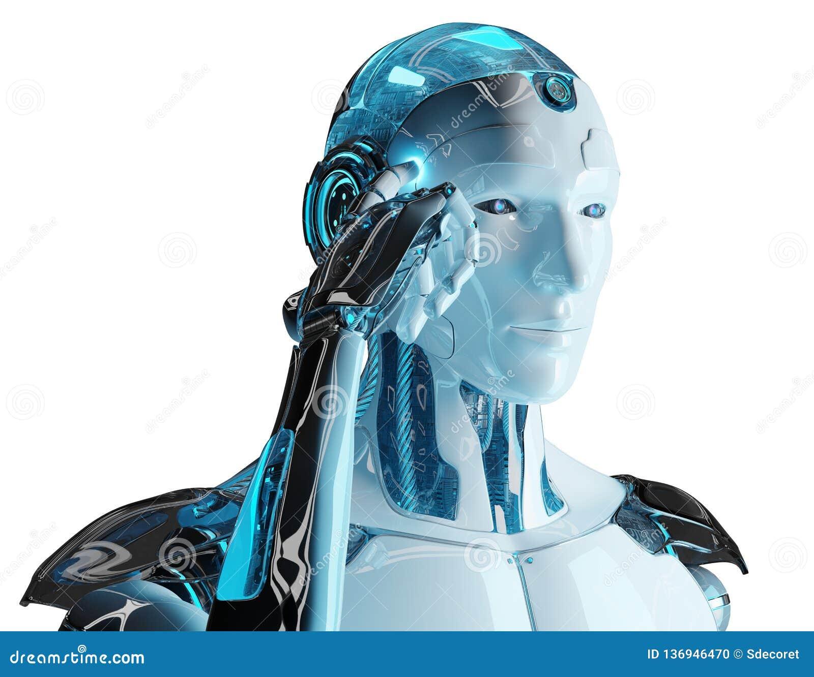 Cyborg maschio bianco che pensa e che tocca la sua rappresentazione della testa 3D