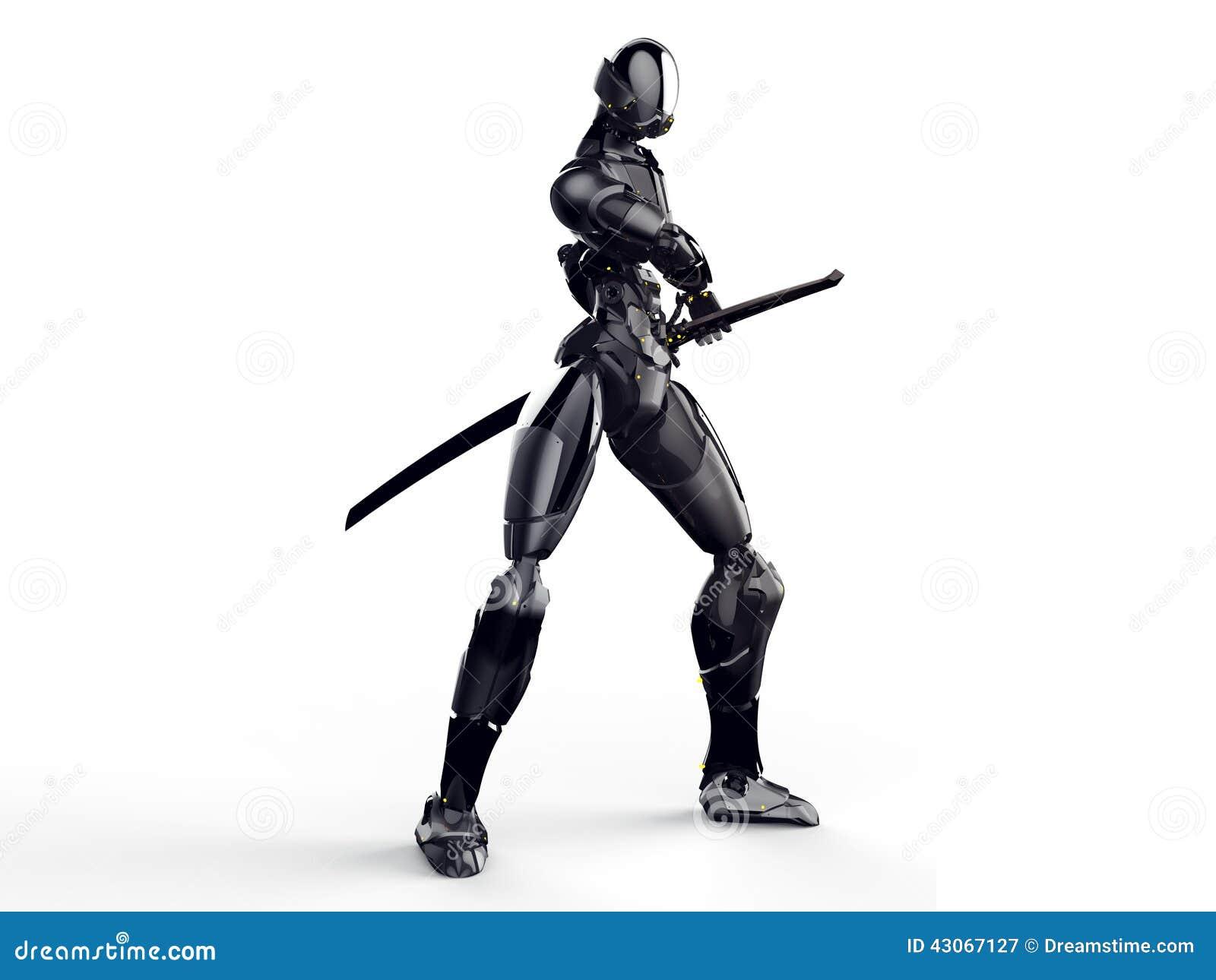 Cyborg ninja/Roboterkrieger erhalten einen sauberen Hintergrund der Klinge heraus