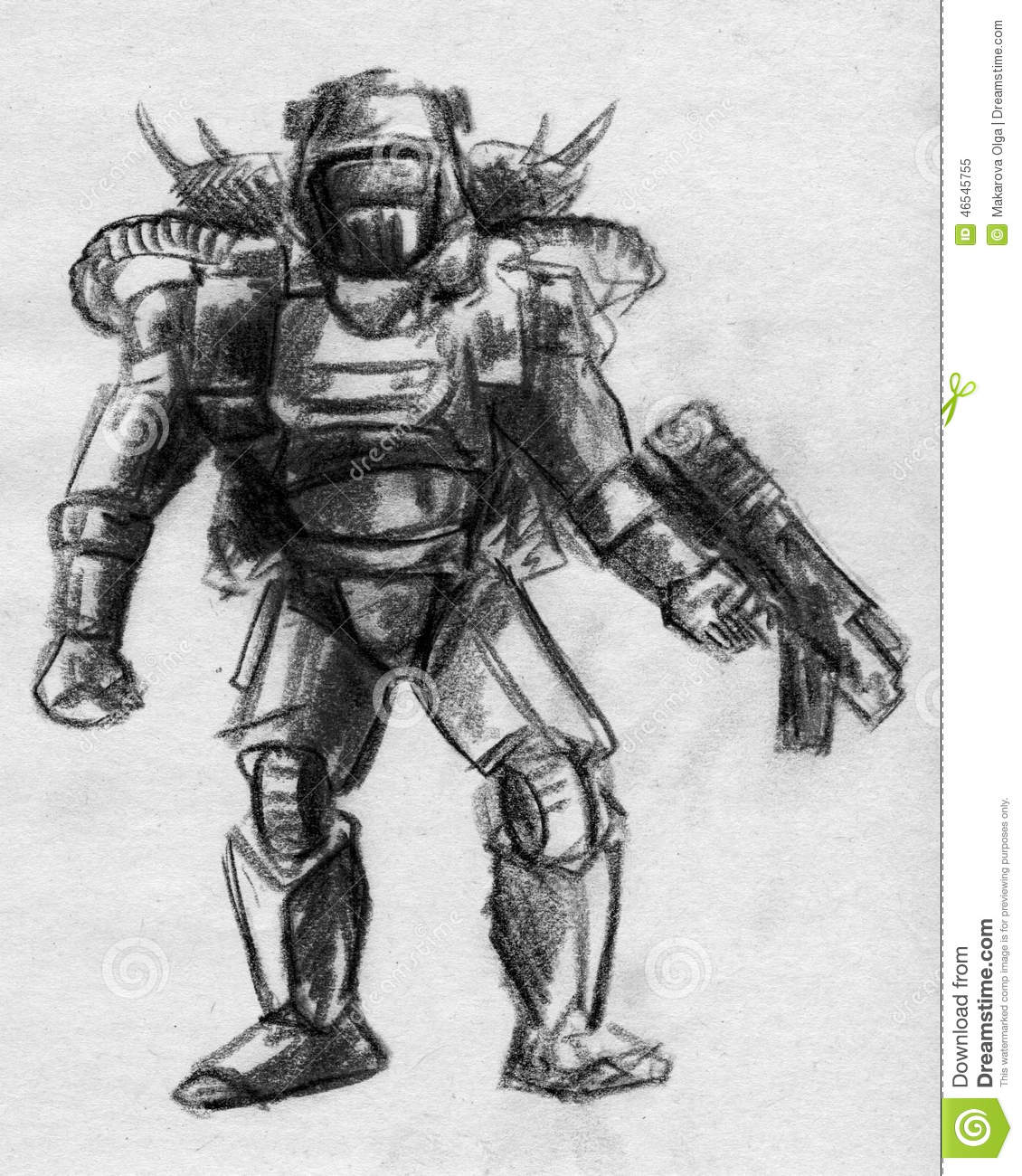 Hand drawn pencil sketch of a sci fi cyborg soldier wearing heavy armor helmet and rifle