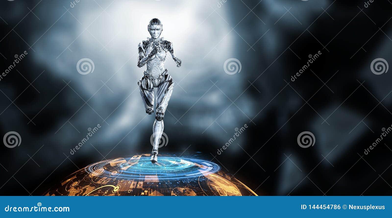 Cyborg zilveren lopende vrouw Gemengde media