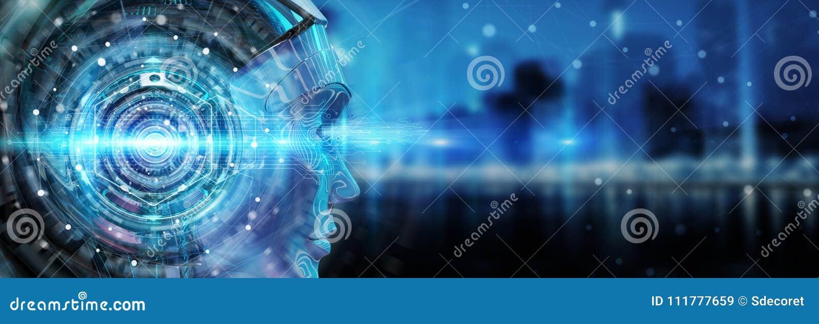 Cyborghuvud som använder konstgjord intelligens att skapa digital inte