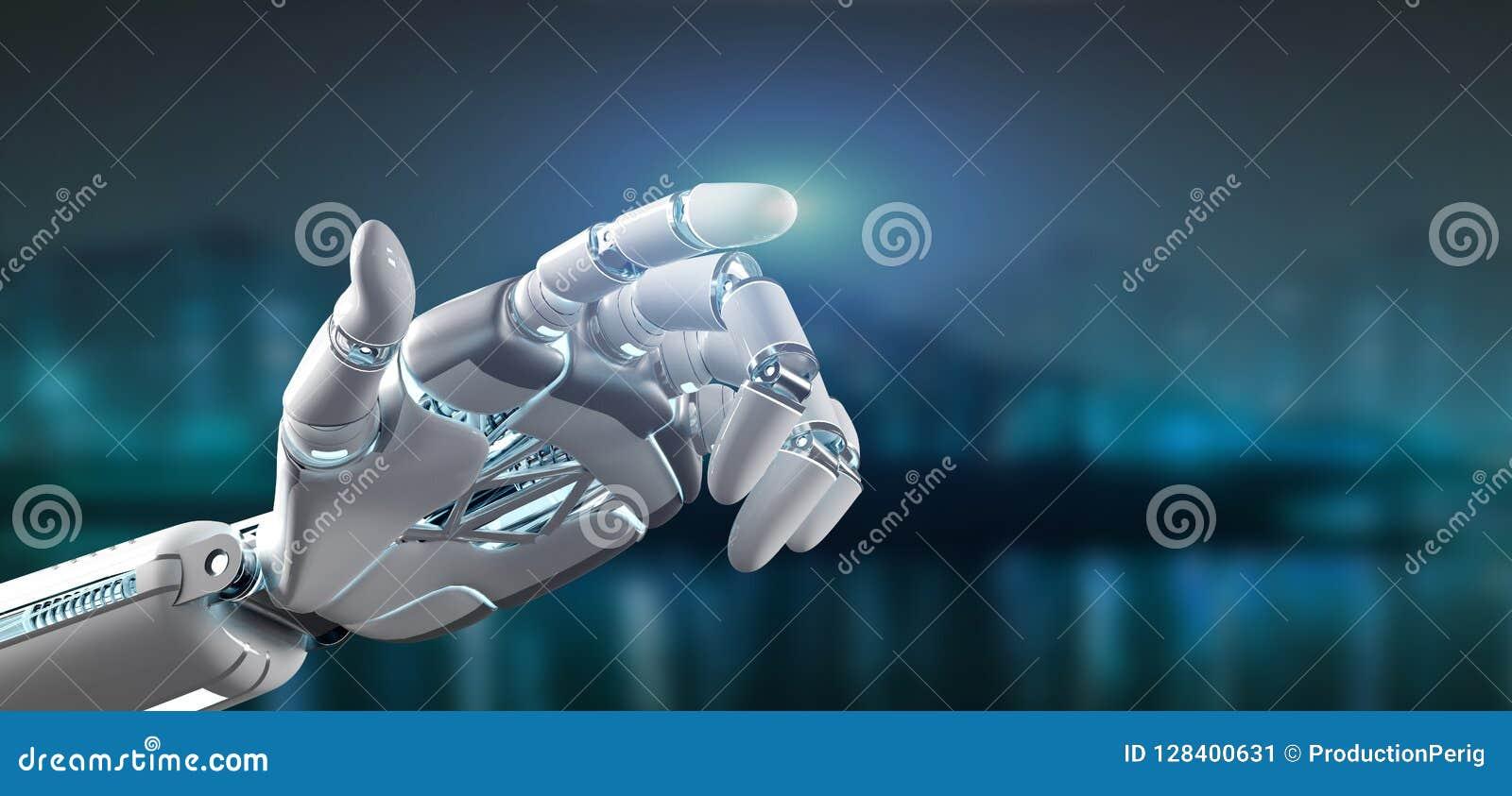 Cyborgrobothand på en tolkning för stadsbakgrund 3d