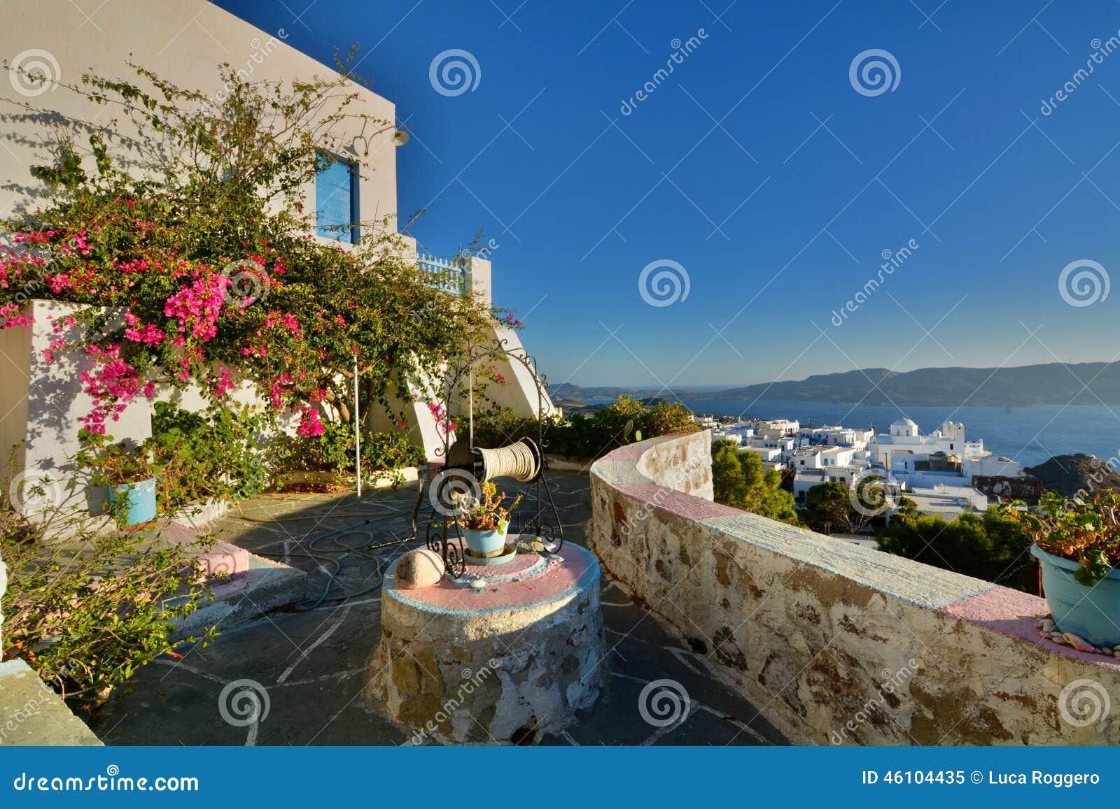 Cycladic terrace. Plaka, Milos. Cyclades islands. Greece