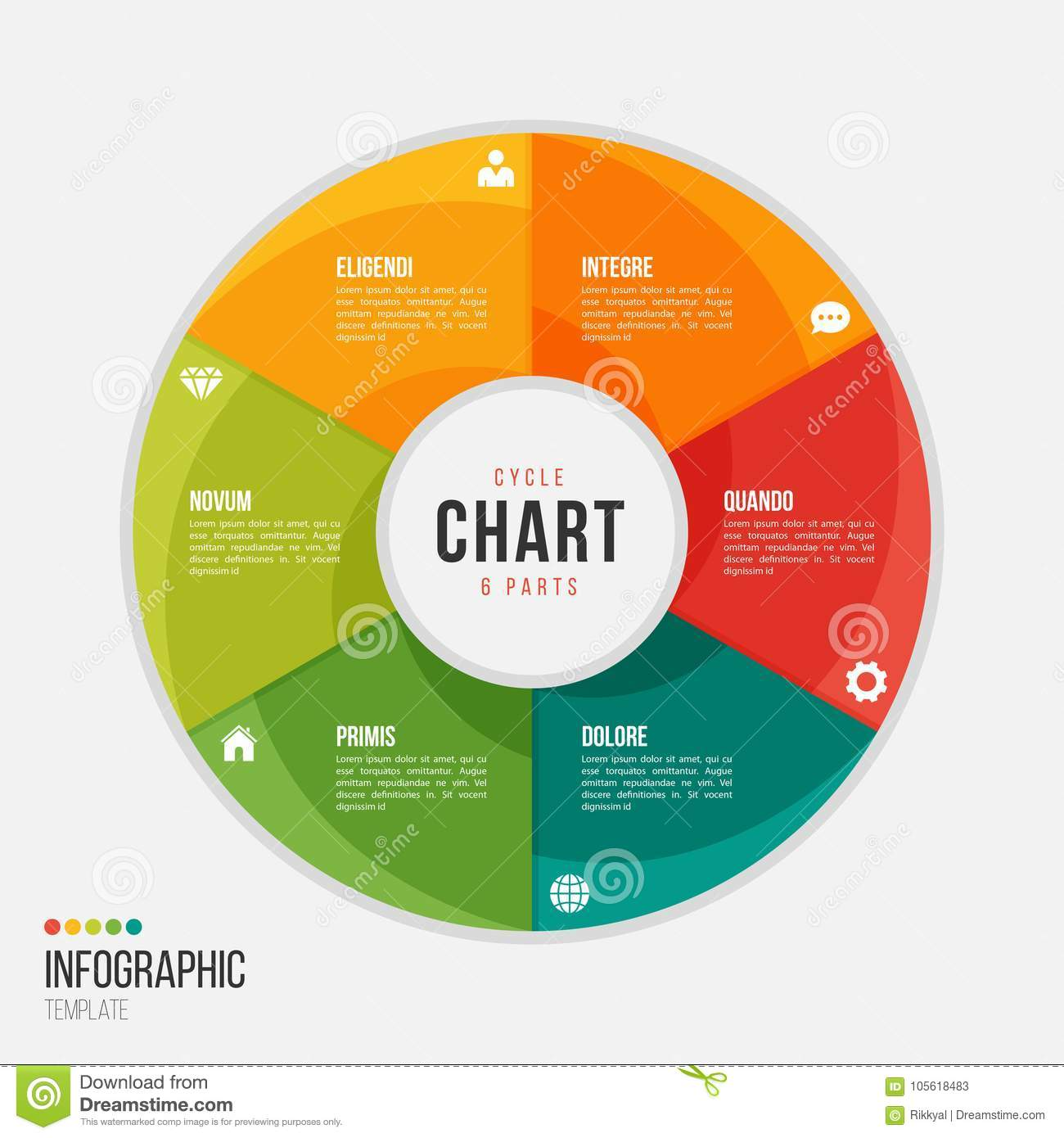 Cycle chart infographic template with 6 parts, options, steps