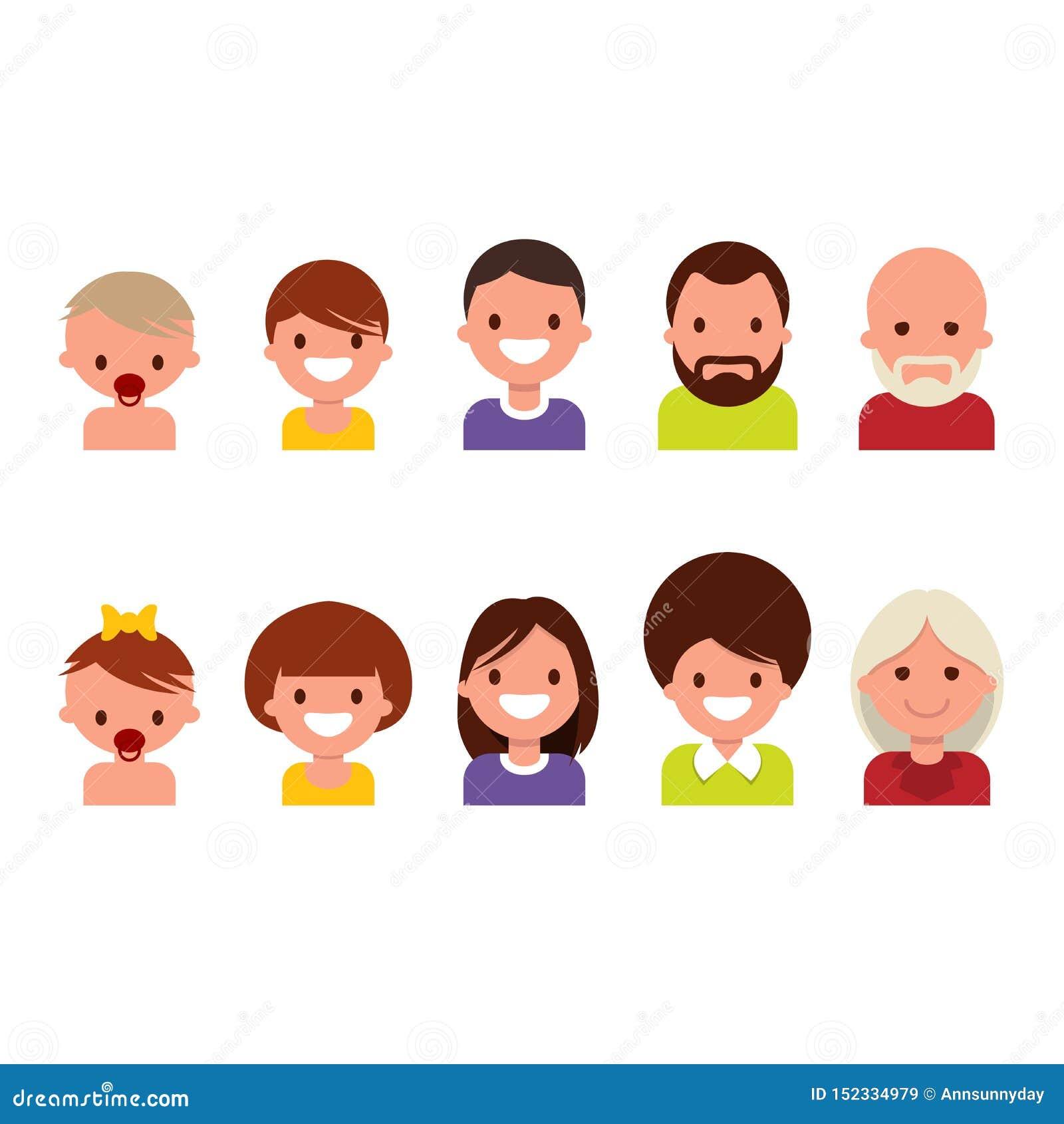 Cycle de vie de naissance à la vieillesse, vieillissant Les gens de différents âges, d enfance à la vieillesse, icônes