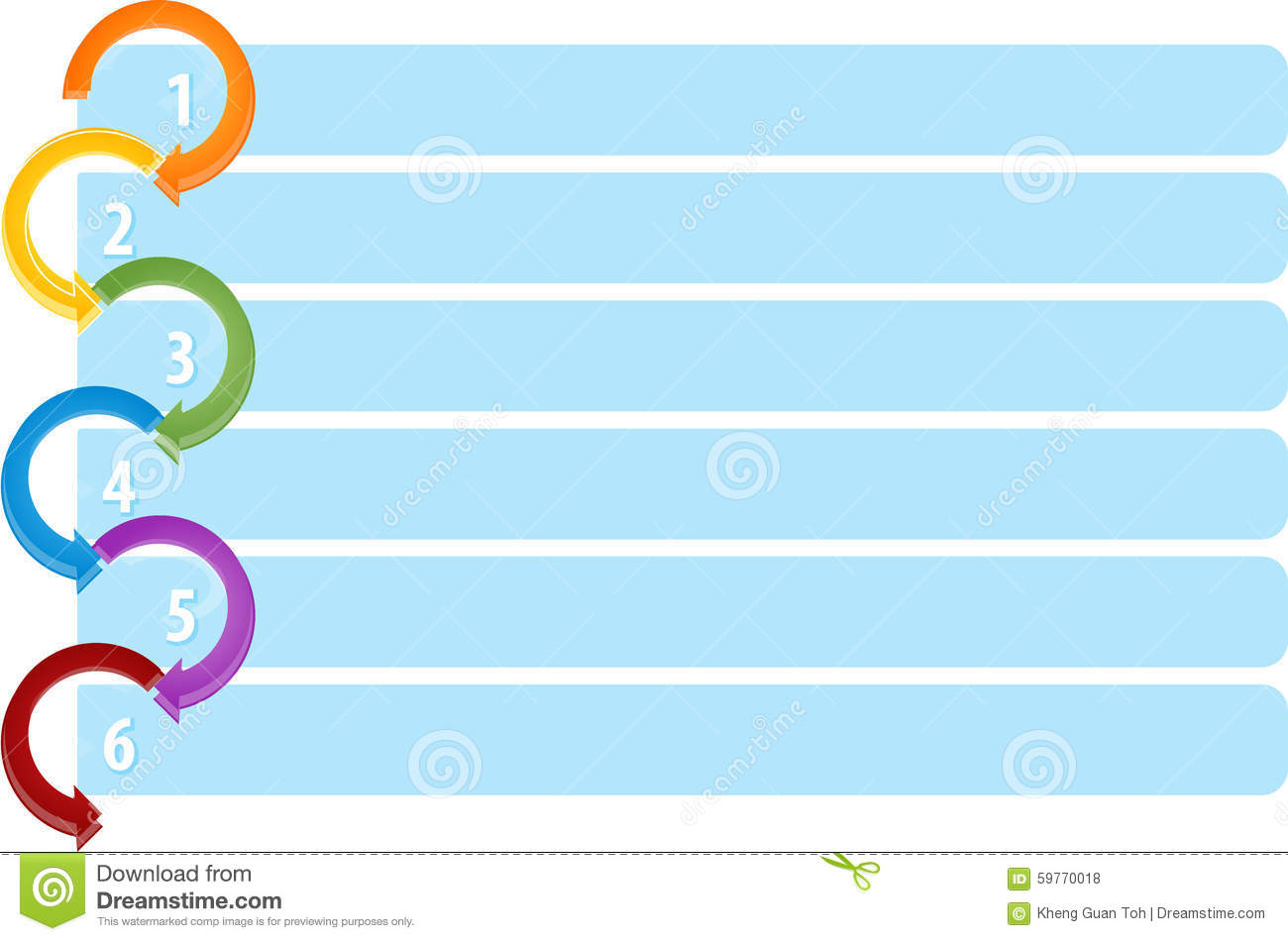 Cycle List Six Blank Business Diagram Illustration Stock ...
