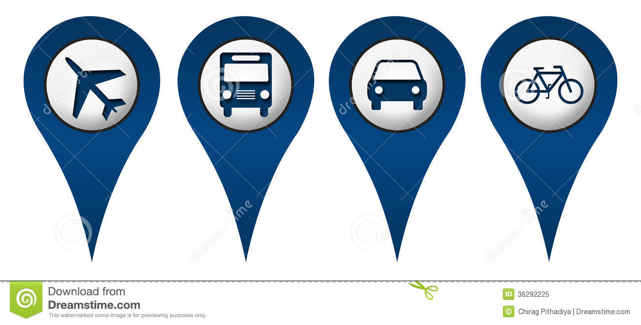 ... Bus Car Location Icons Royalty Free Stock Photo - Image: 36292225