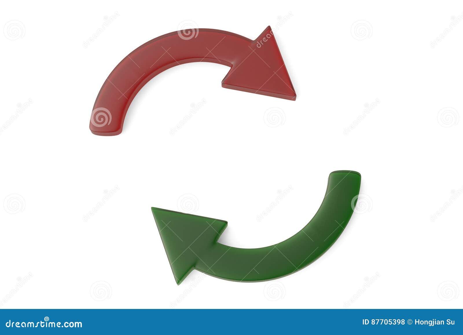 Cycle rouge et vert de flèche illustration 3D