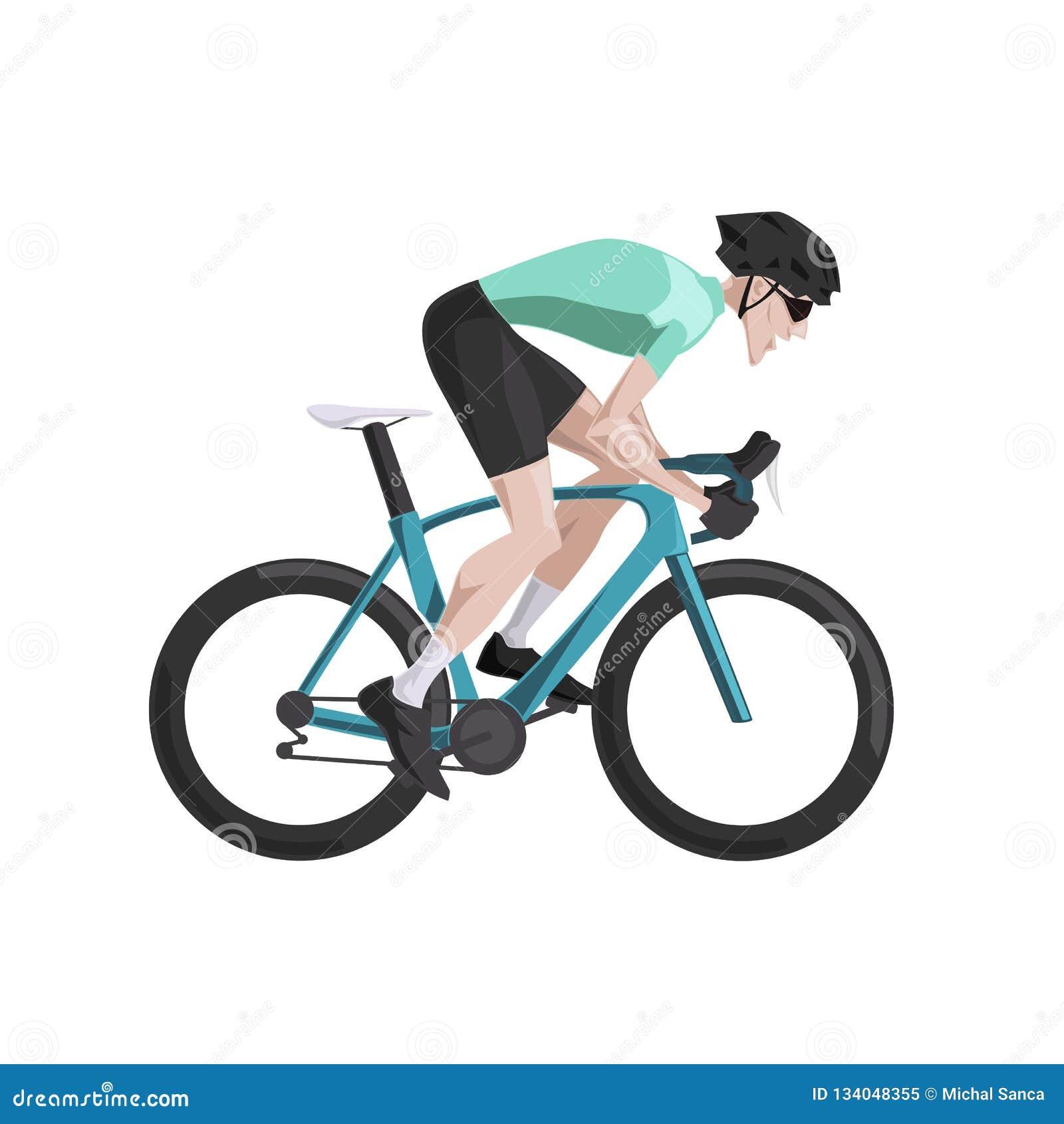 Cycling, cartoon road cyclist riding bike