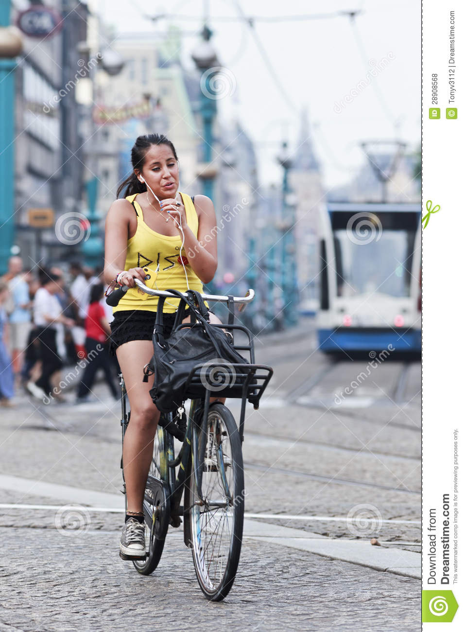Cycling Girl In Amsterdam Editorial Stock Photo Image Of