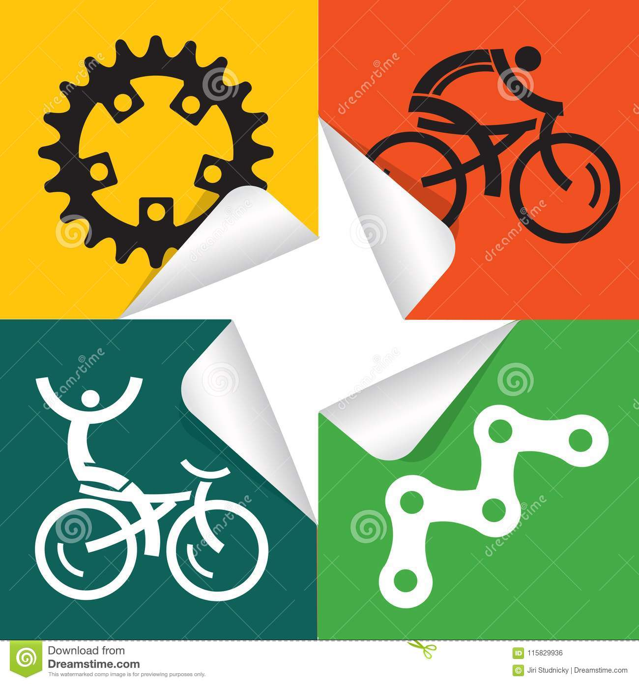 Cycling Icons Stickers  Stock Vector  Illustration Of