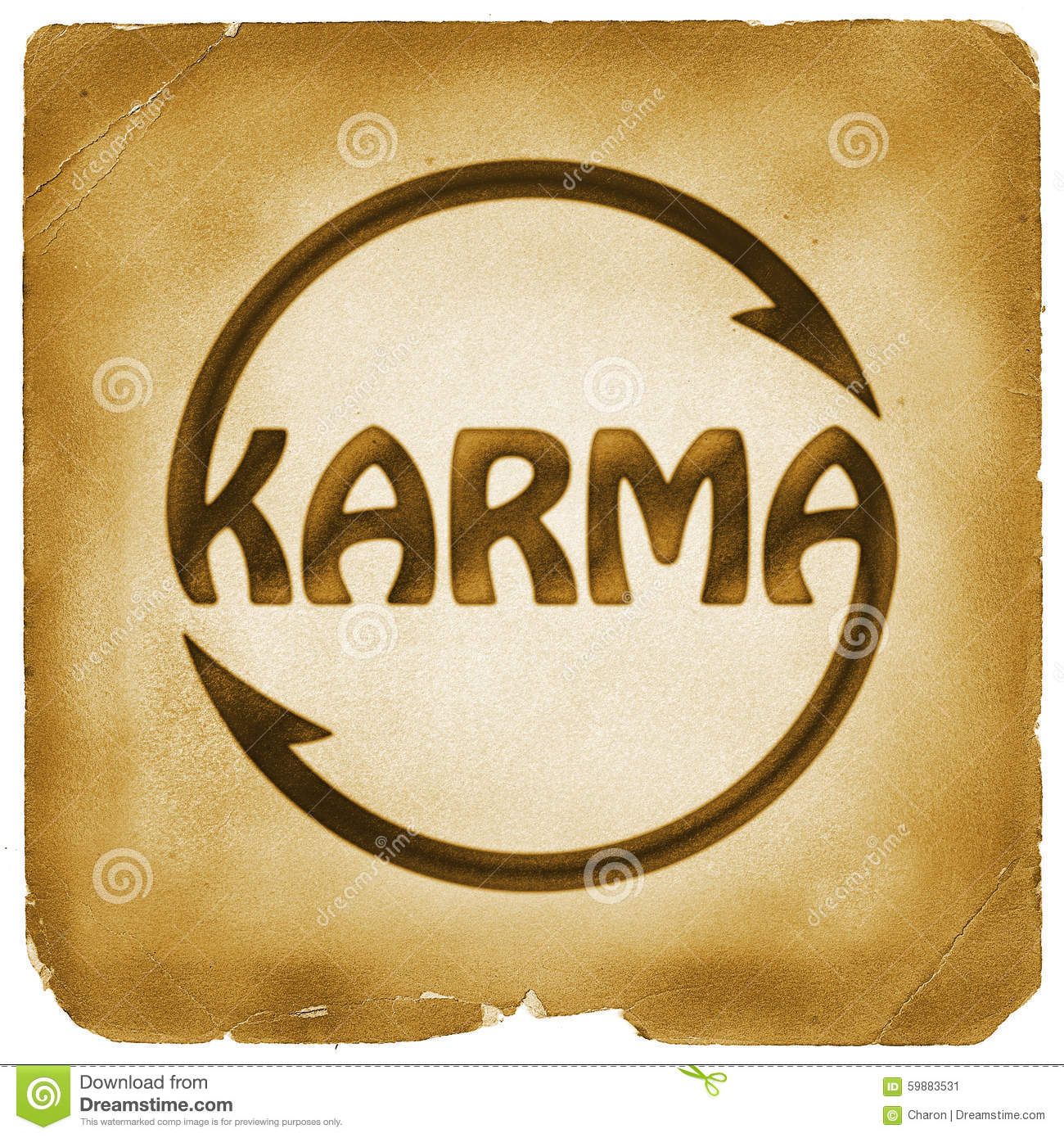 Cycling Karma Word Symbol On Old Paper Stock Illustration
