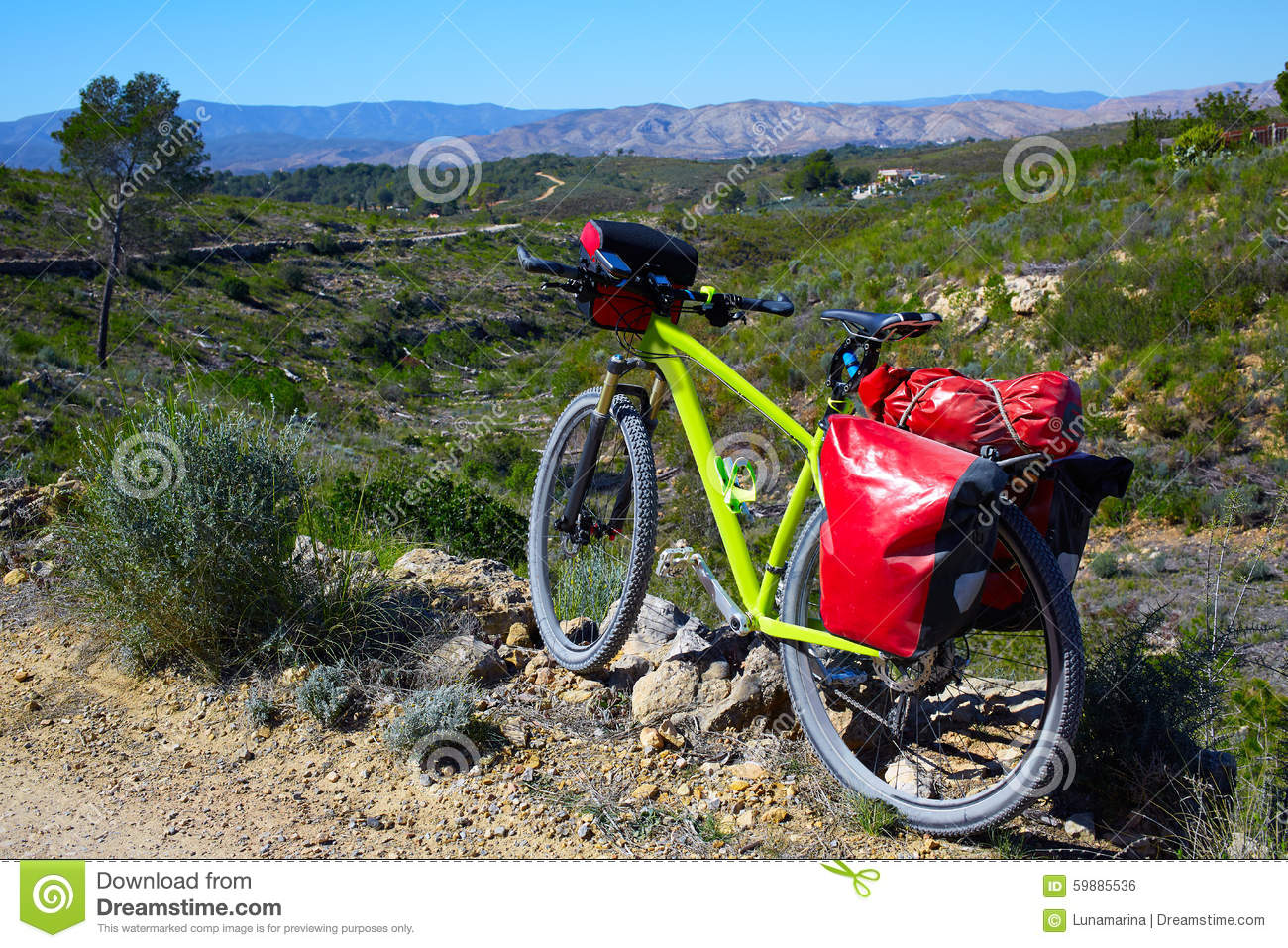 Cycling tourism MTB bike in Pedralba Valencia with panniers