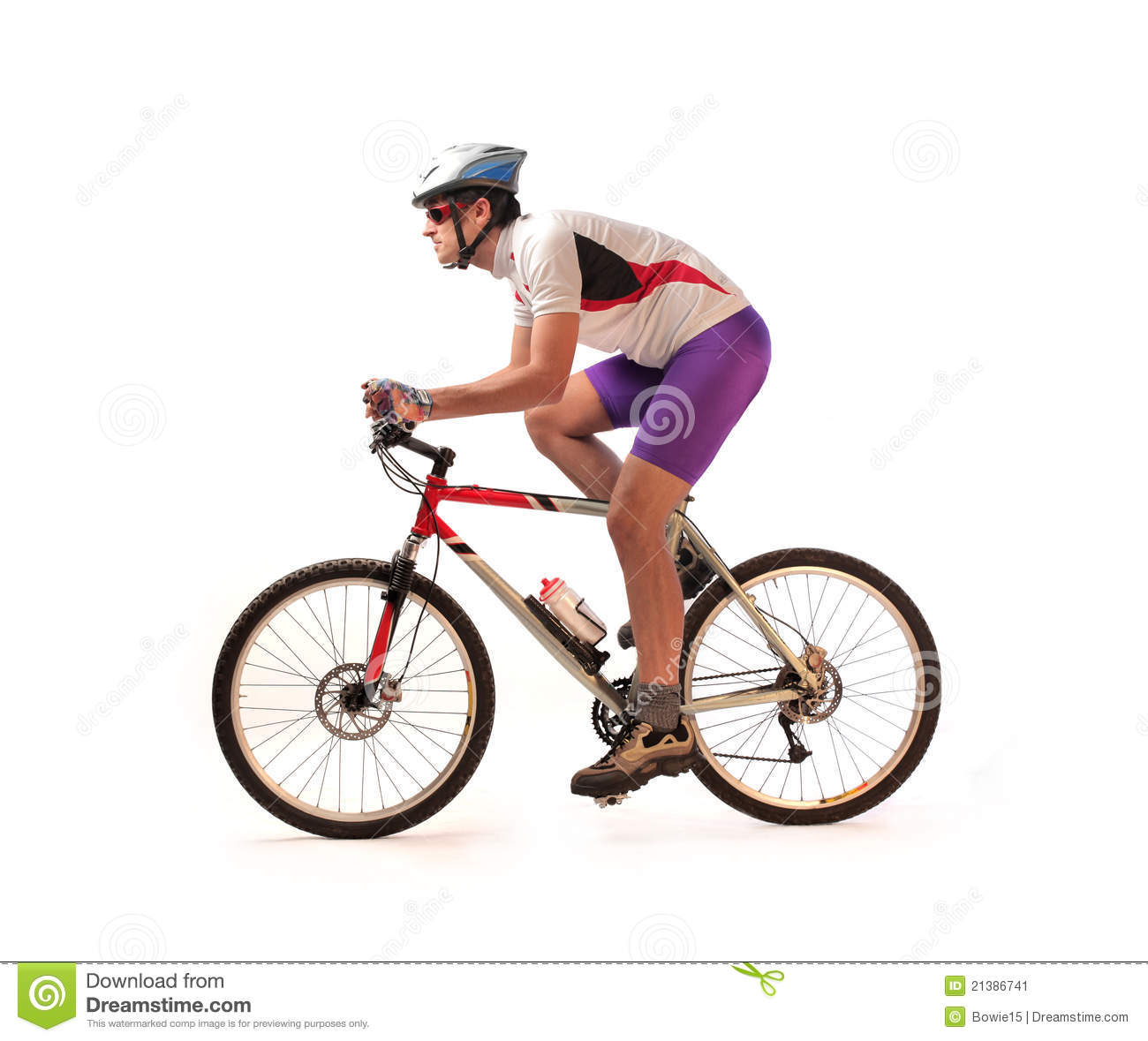 Portrait of a cyclist on a mountain bike.