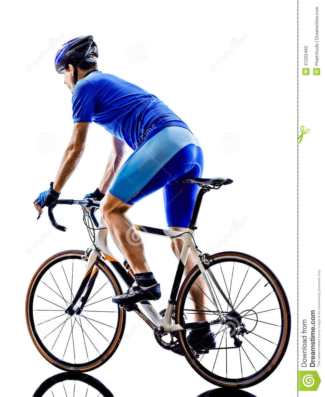 Cyclist cycling road bicycle rear view silhouette