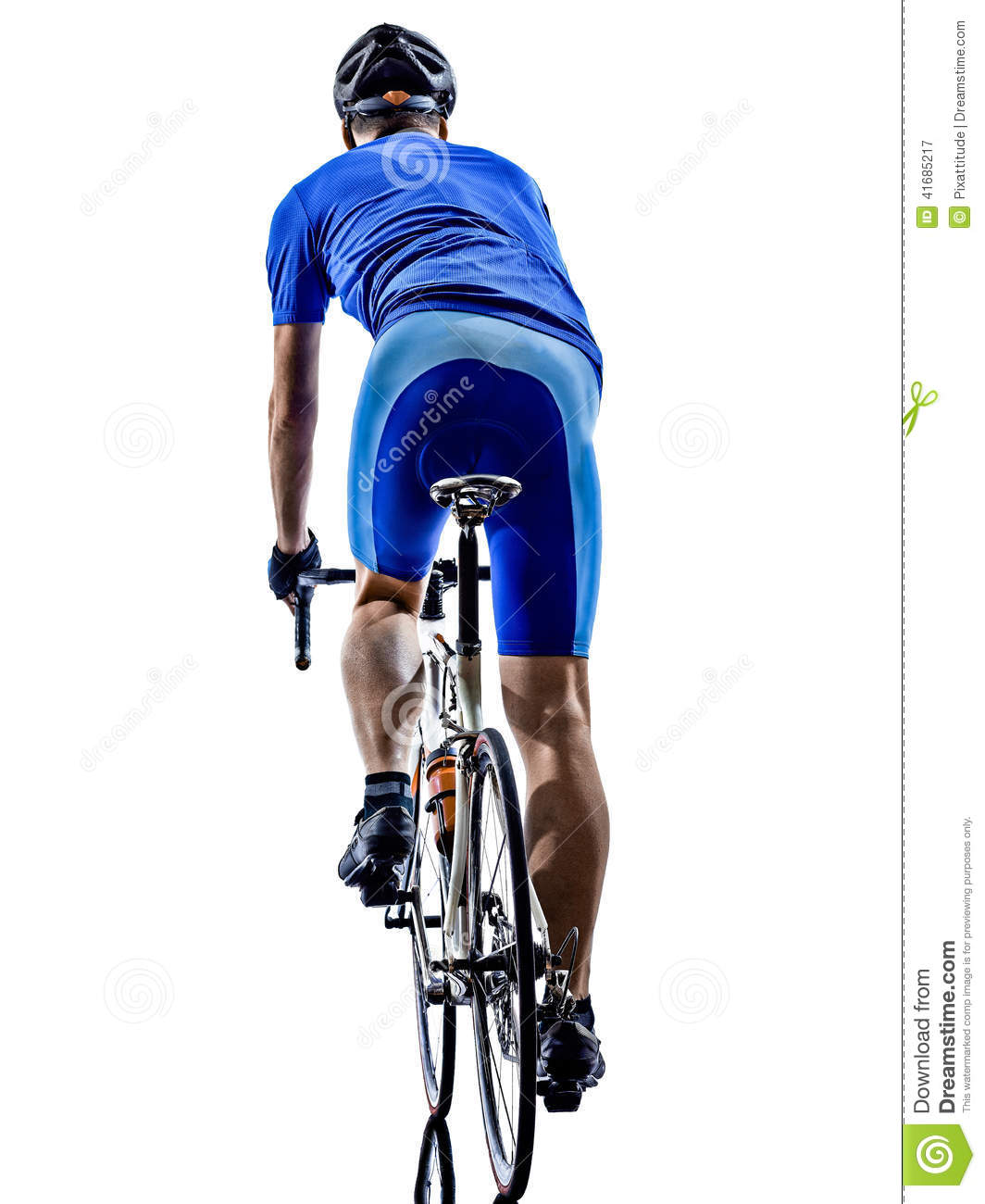 Cyclist Cycling Road Bicycle Rear View Silhouette Stock Photo - Image ...