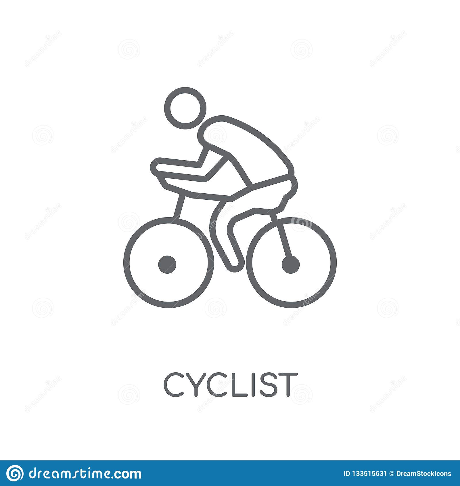 Cyclist Linear Icon  Modern Outline Cyclist Logo Concept On