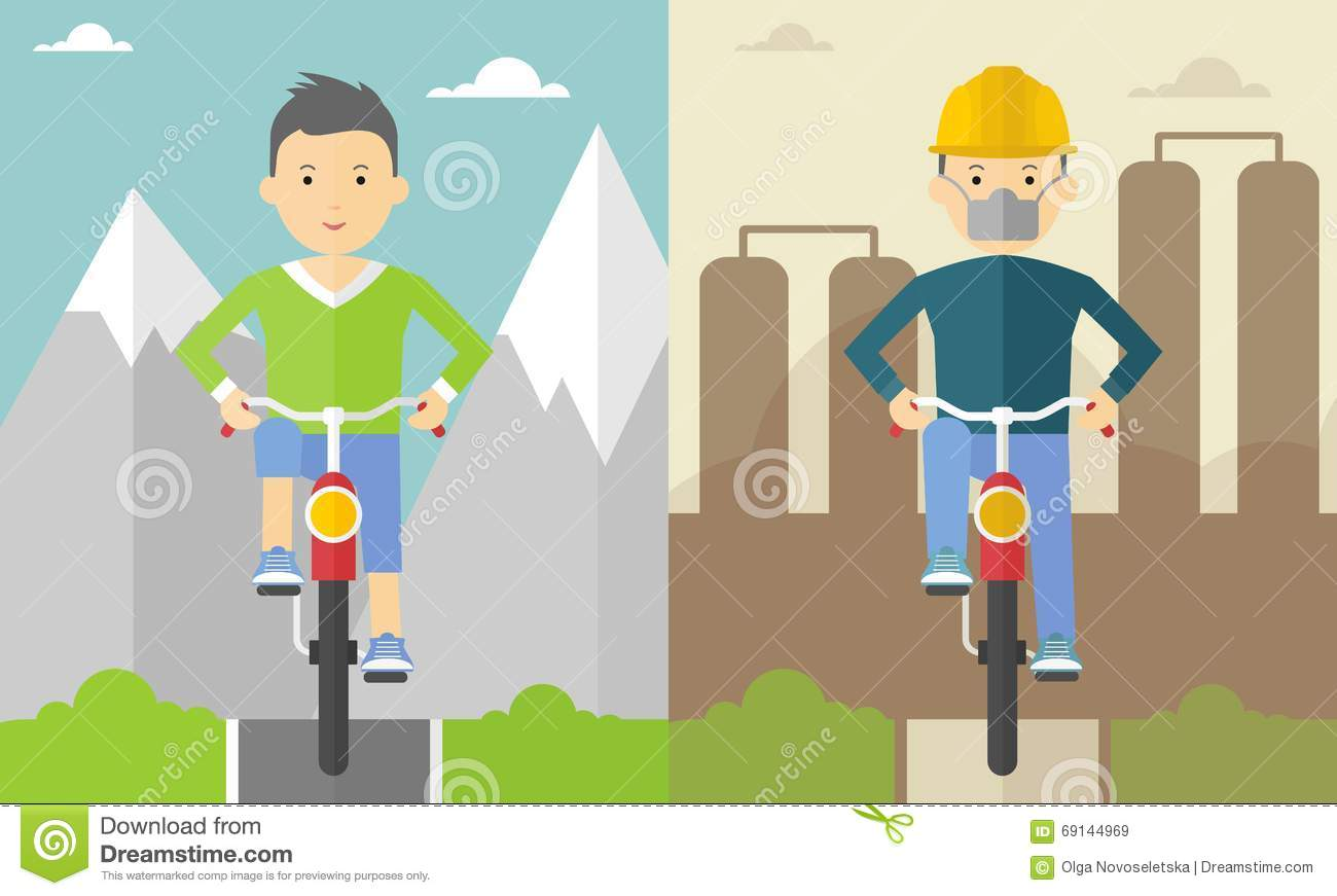 Cyclist in the mountains and in the city